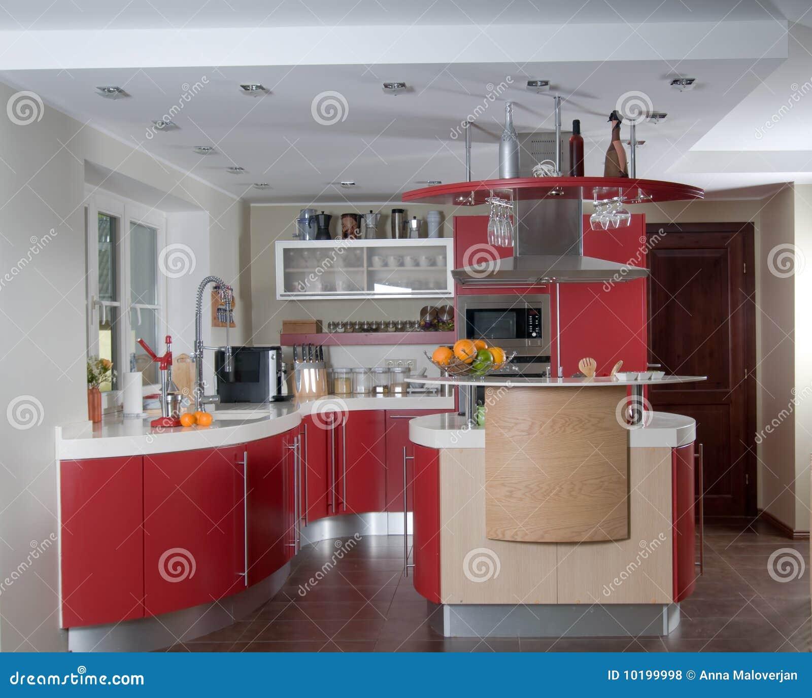 Rode moderne keuken royalty vrije stock foto's   afbeelding: 10199998