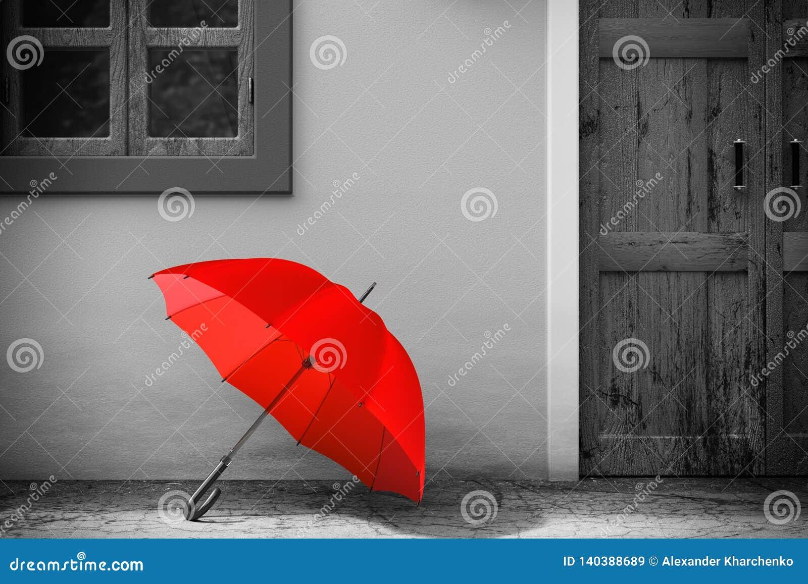 Rode Paraplu voor Retro Uitstekende Europese Woningbouw in Zwart-wit Stijl, Smalle Straatscène het 3d teruggeven