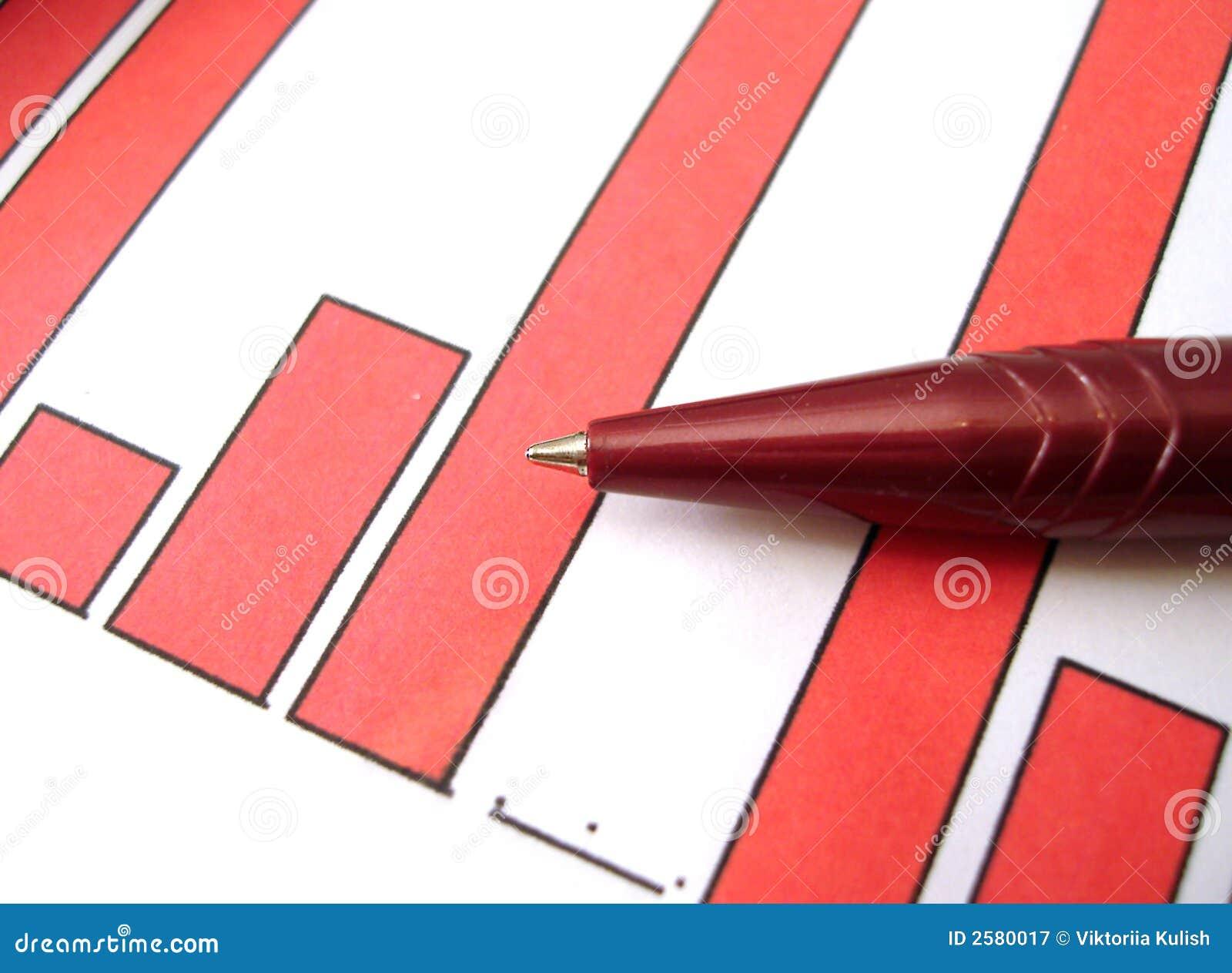 Rode pen op diagram