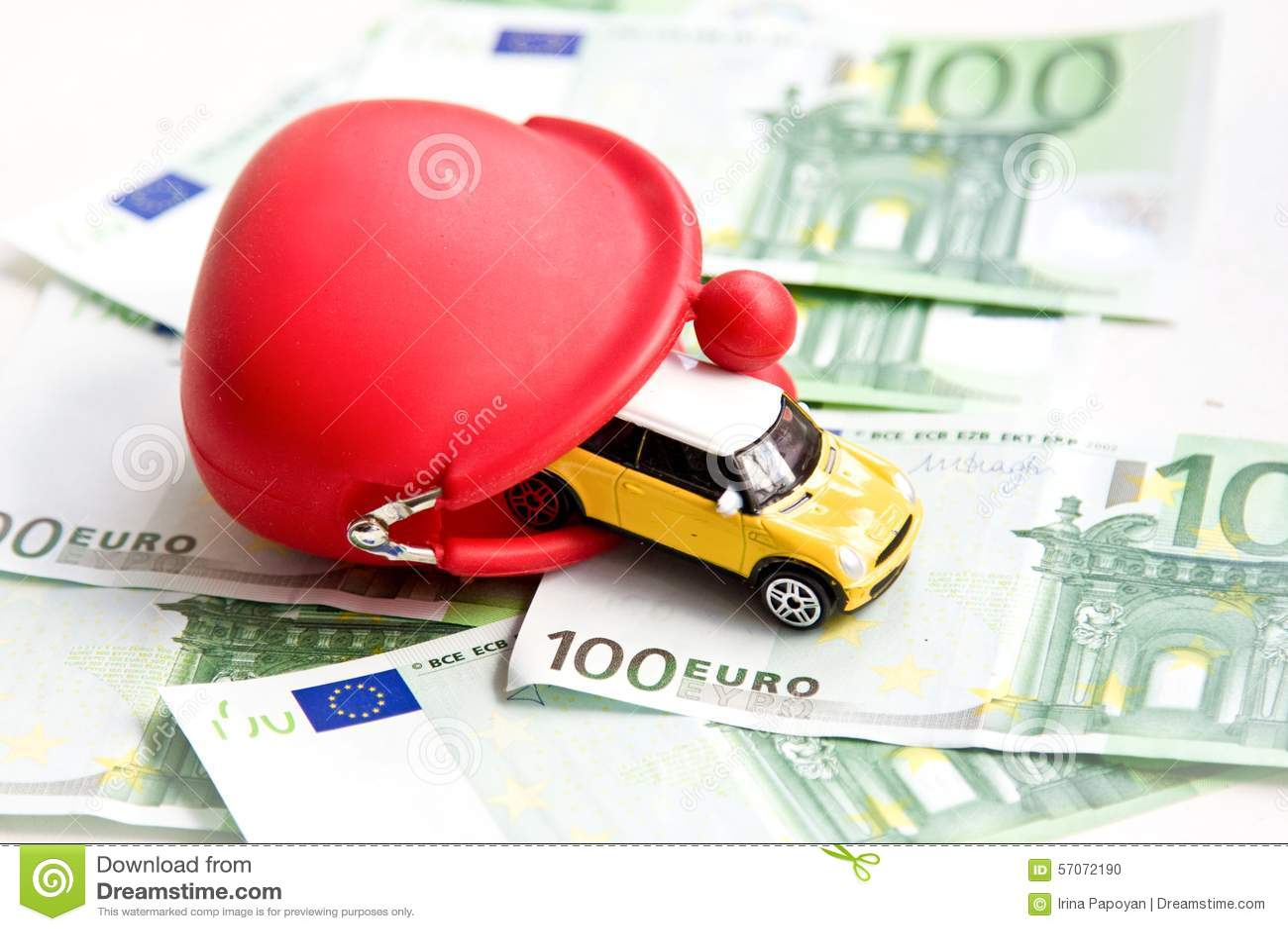 Rode portefeuille, auto en euro
