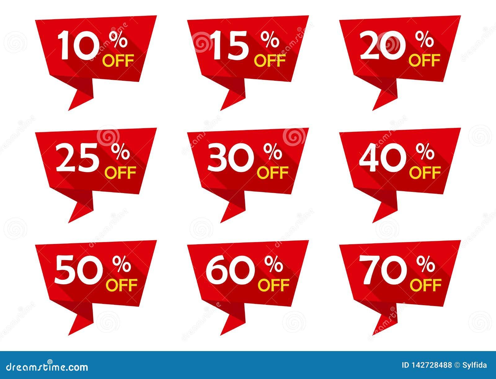 Rode reeks van de reclame van markeringslinten met kortingsaanbiedingen Verkopende Kentekens Vector illustratie