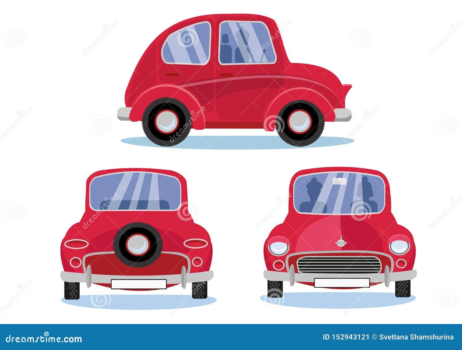 Rode retro auto Beeldverhaalauto in drie verschillende meningen wordt geplaatst die: Kant - Voorzijde - Achtermening Leuk voertui