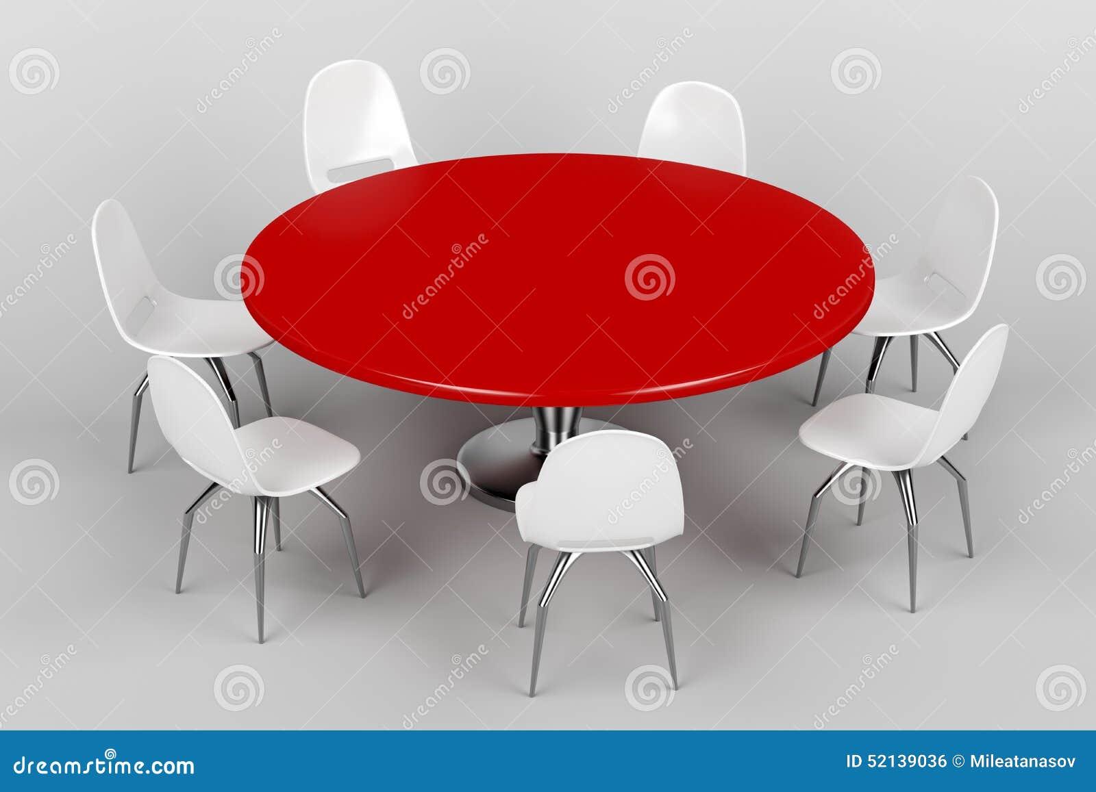 Rode rondetafel en witte stoelen stock illustratie for Witte moderne stoelen