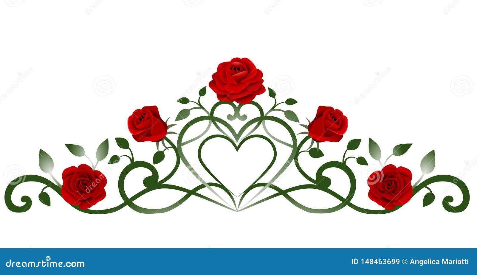 Rode rozen en bladerendecoratie