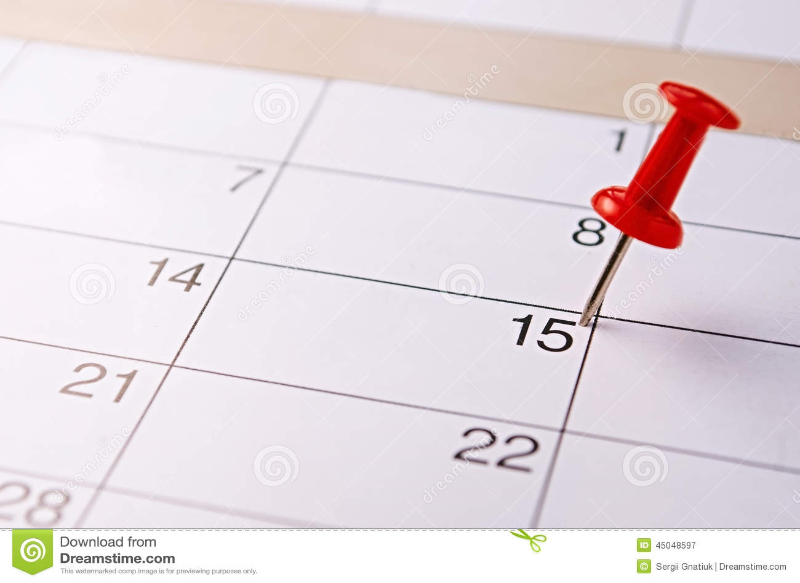 Rode speld die vijftiende op een kalender merken
