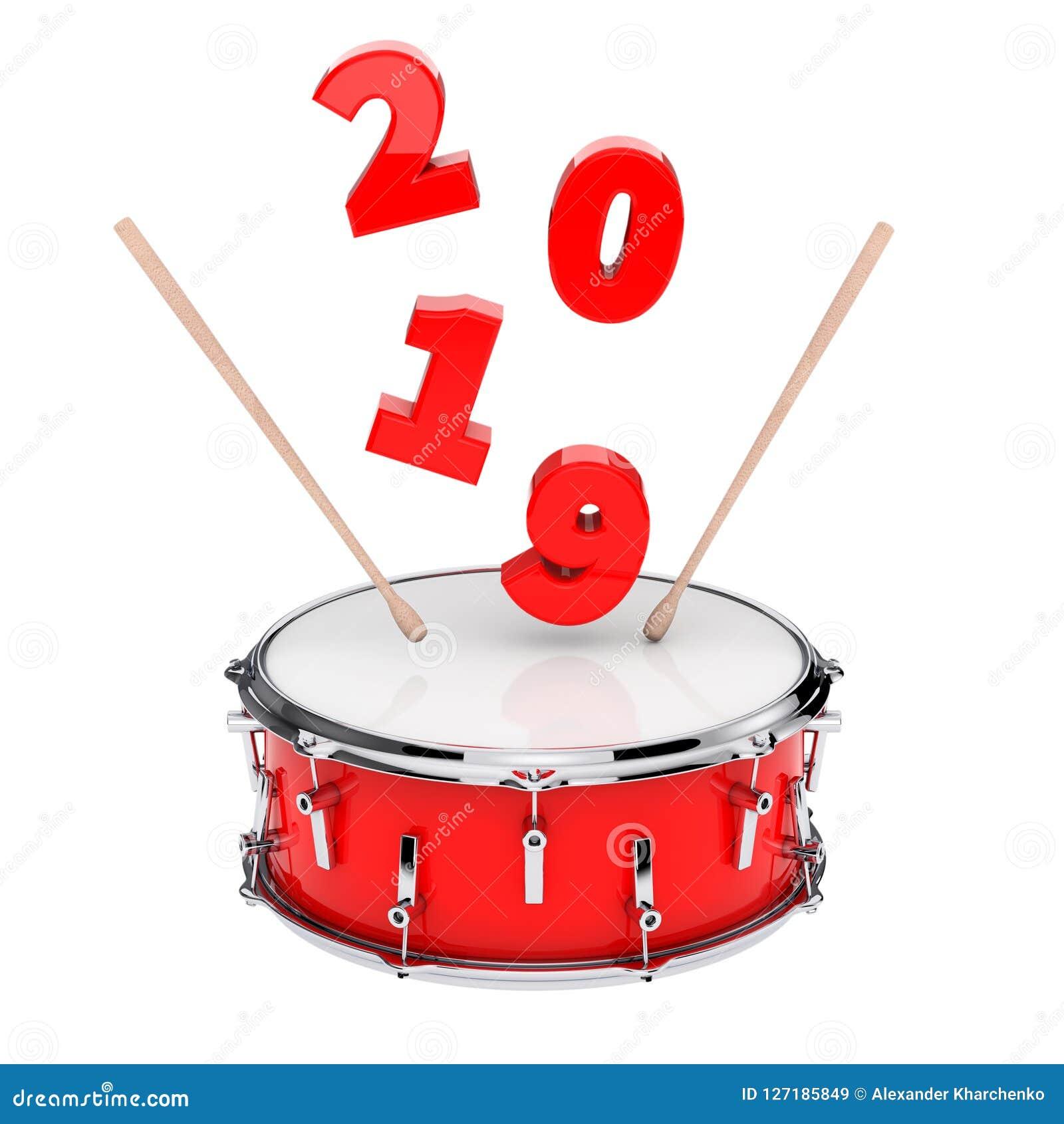 Rode Striktrommel met Paar van Trommelstokken en het Nieuwjaarteken van 2019
