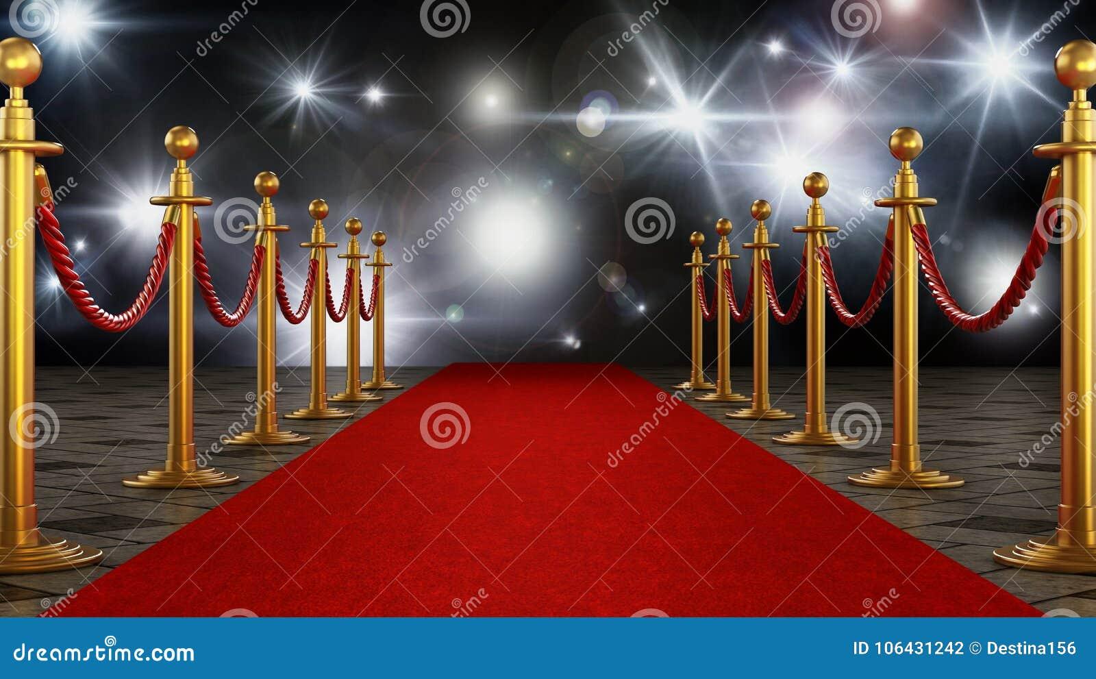 Rode Vloerbedekking Slaapkamer : Rode tapijt en fluweelkabels op de achtergrond van de feestnacht