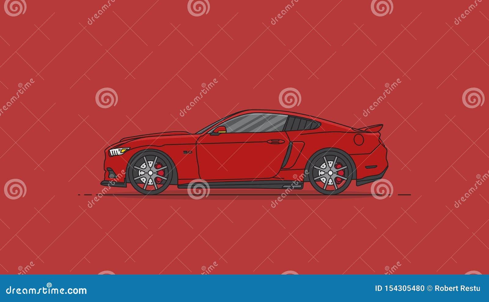 Rode van het de auto vlakke ontwerp van de sport Amerikaanse spier vectorillustratie als achtergrond