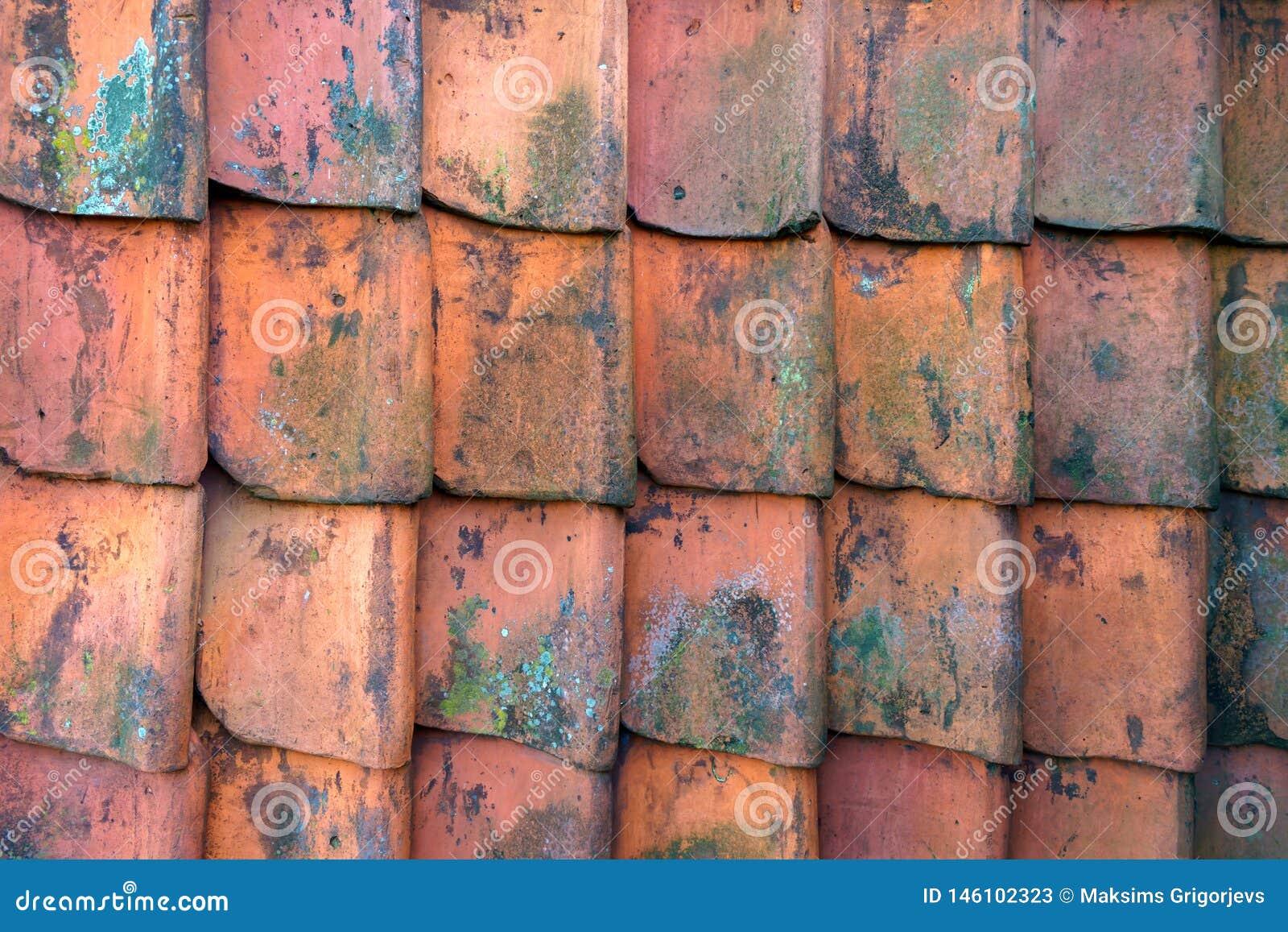 Rode van het de leienpatroon van de dakklei de textuurachtergrond