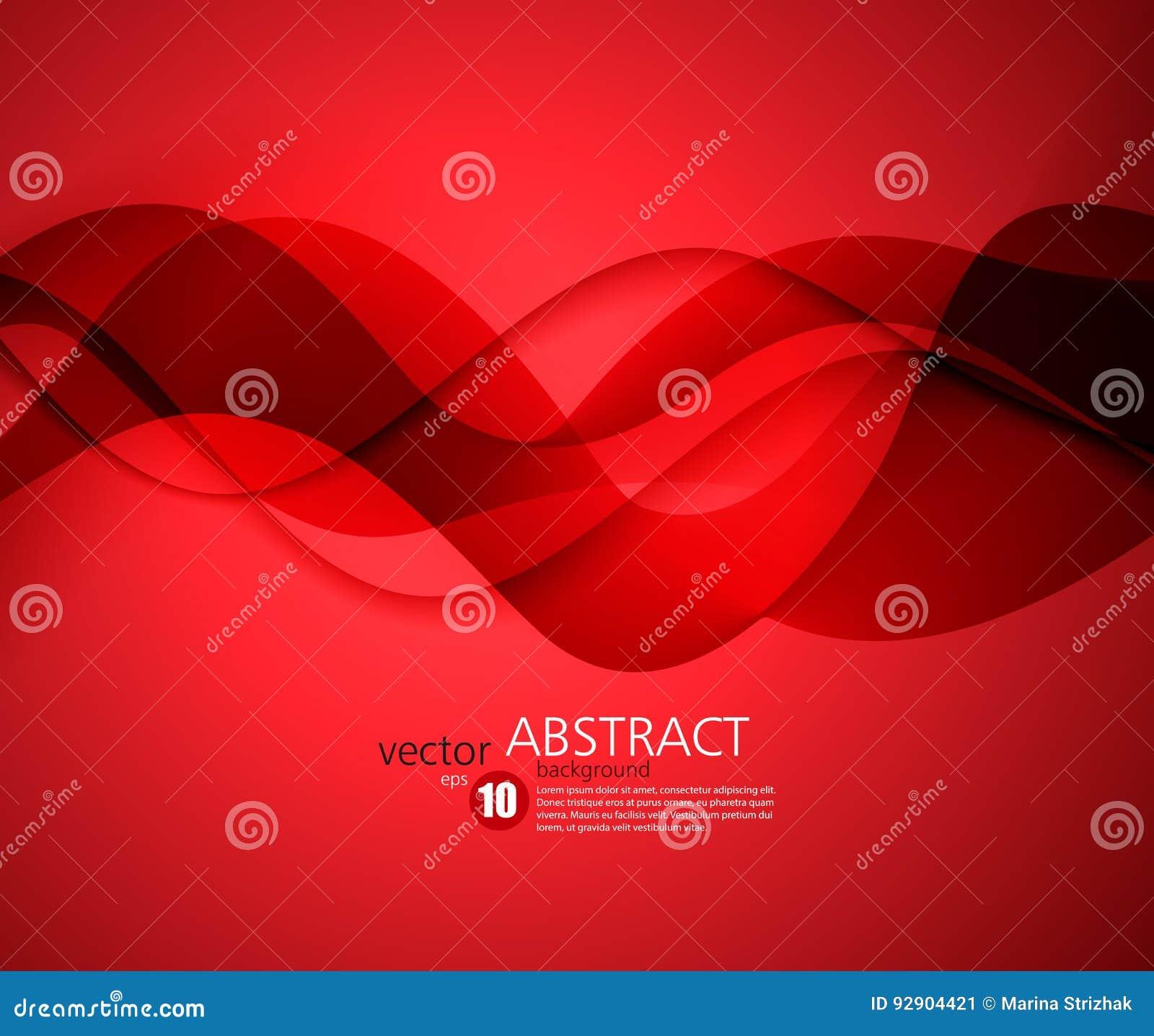 Rode vectormalplaatje Abstracte achtergrond met krommenlijnen Voor vlieger, brochure, boekje en websitesontwerp