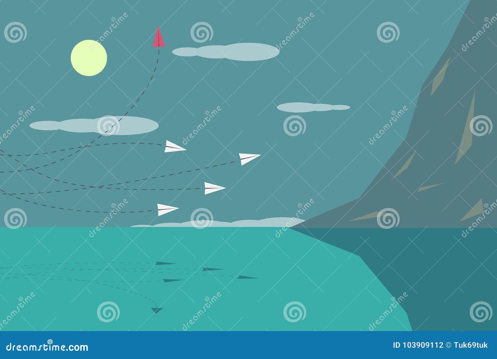 Rode vliegtuig veranderende richting en witte degenen Nieuw idee, verandering, tendens, moed, creatieve oplossing, innovatie a
