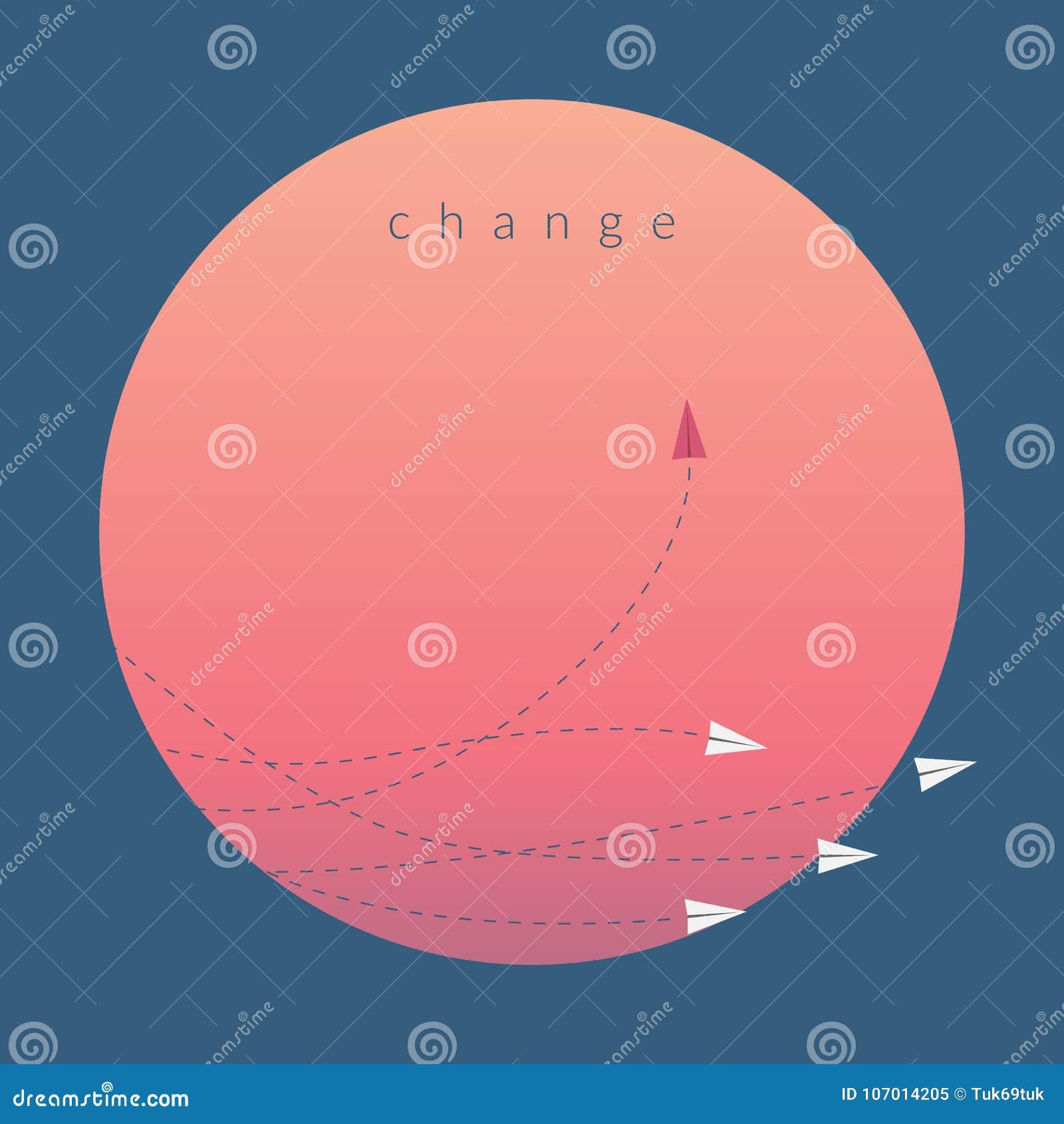 Rode vliegtuig veranderende richting en witte degenen Nieuw idee, verandering, tendens, moed, creatieve oplossing, zaken, herberg