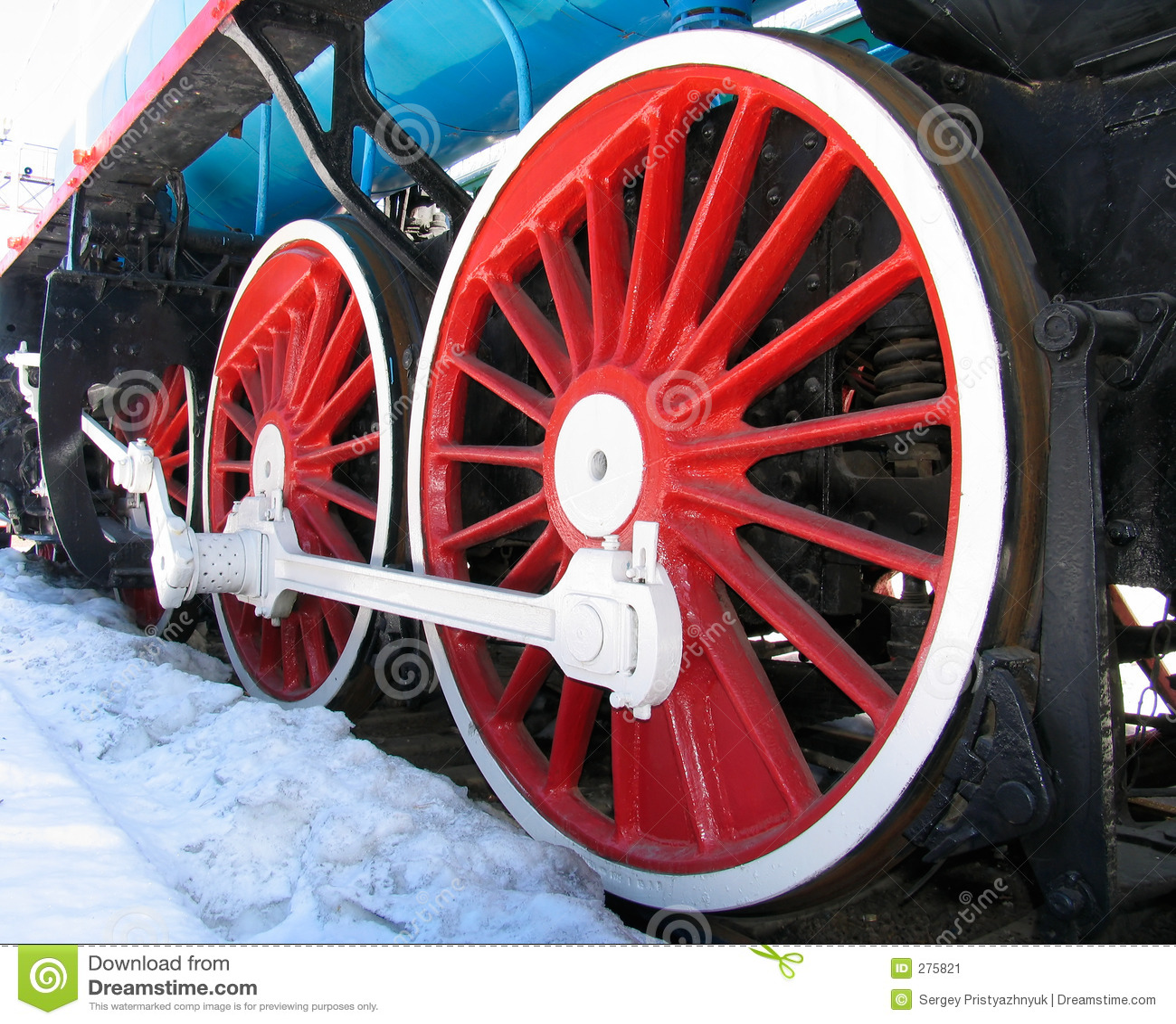 Rode wielen van oude locomotief
