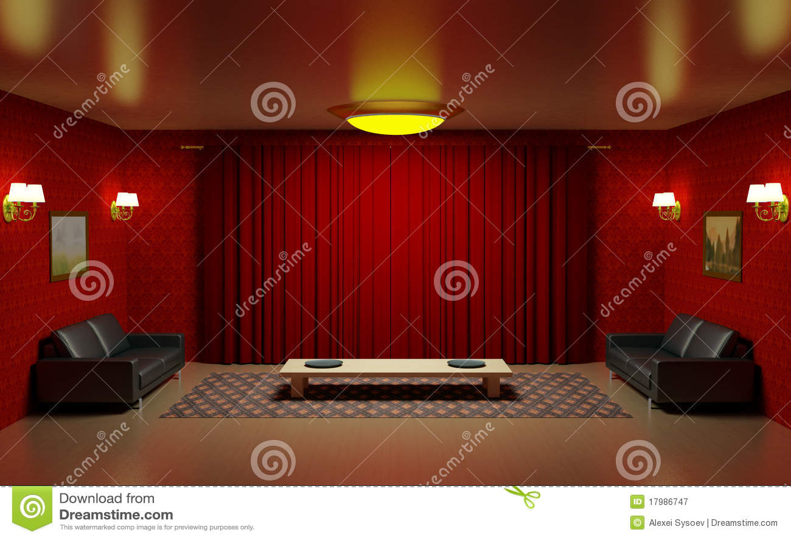 Behang Woonkamer Rood : Rood binnenland woonkamer twee zwarte ...