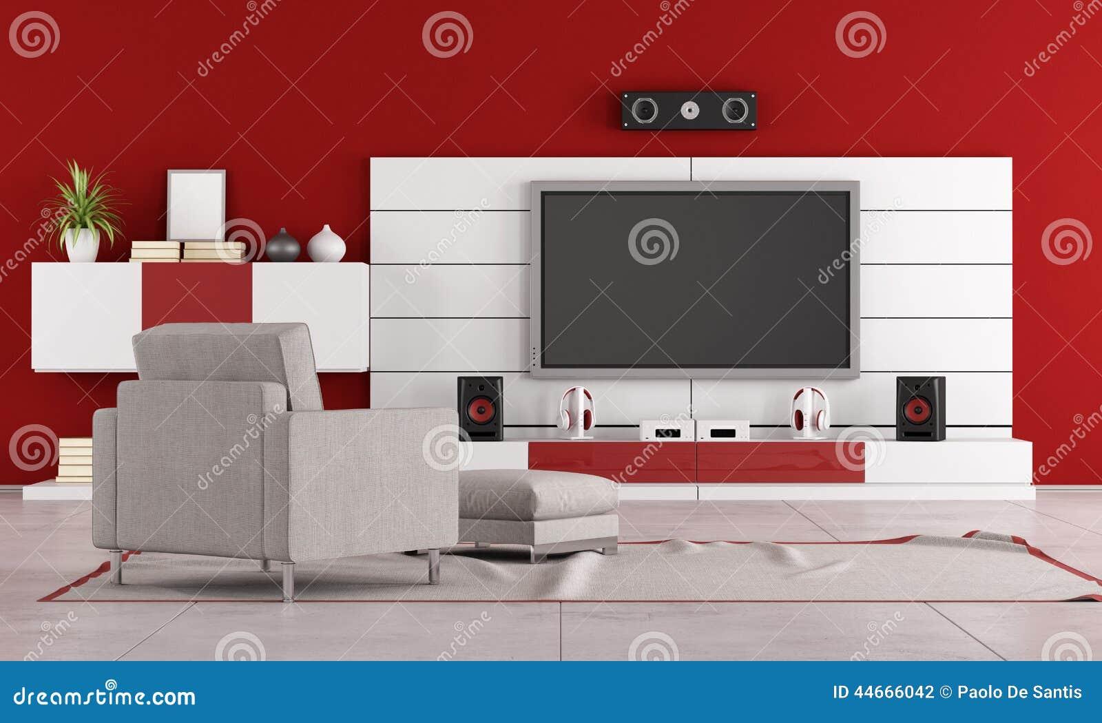 Rode Woonkamer Met TV Stock Illustratie - Afbeelding: 44666042