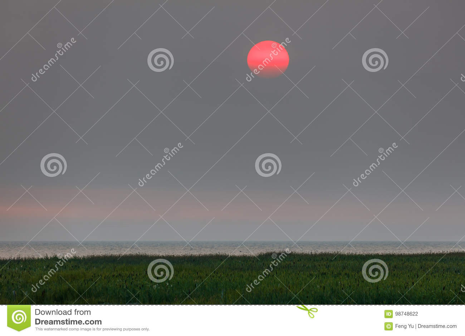 Rode zonsondergang in een nevel