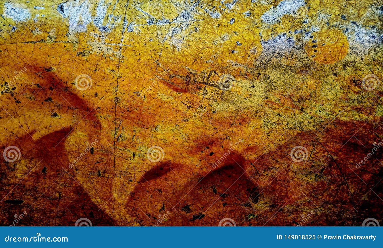 Rode, zwarte en gele in de schaduw gestelde muur geweven achtergrond document grunge achtergrondtextuur Achtergrond behang