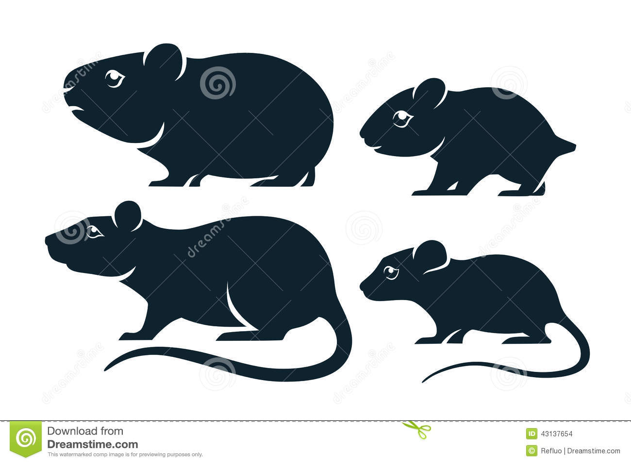 Four silhouettes of rodents: Guinea pig hamster, rat and mouse.