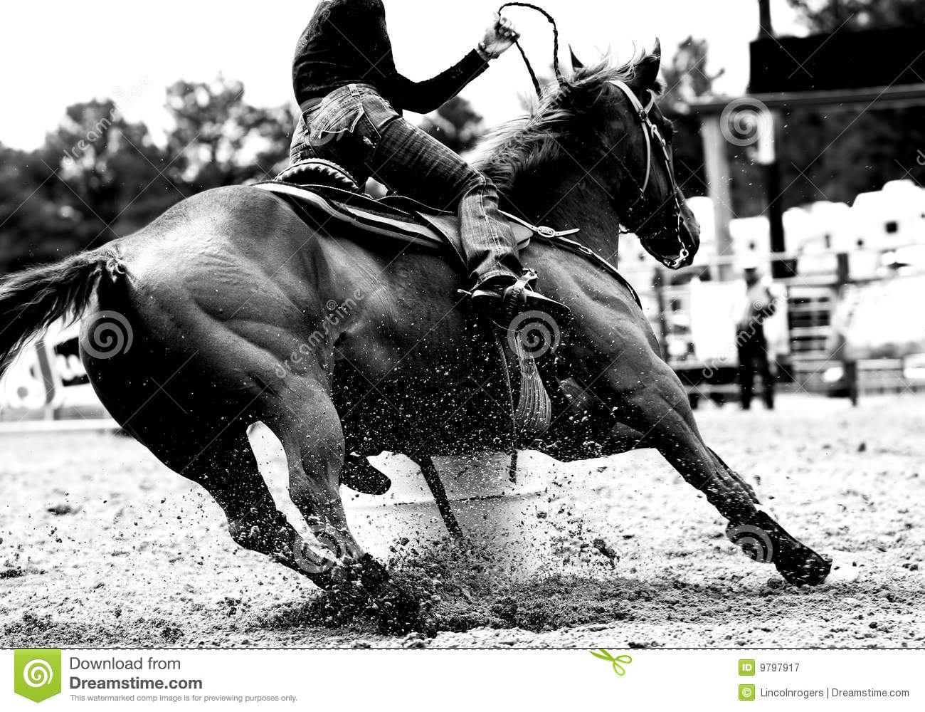 High contrast, black and white closeup of a rodeo Barrel Racer making