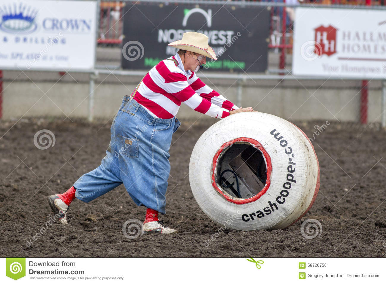 Rodeo Clown Pushes Barrel Editorial Photo Image Of Show