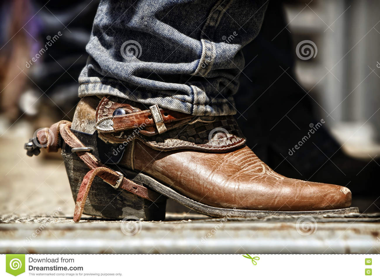 Rodeo Cowboy Boot And Spur Stock Photo Image 71147048