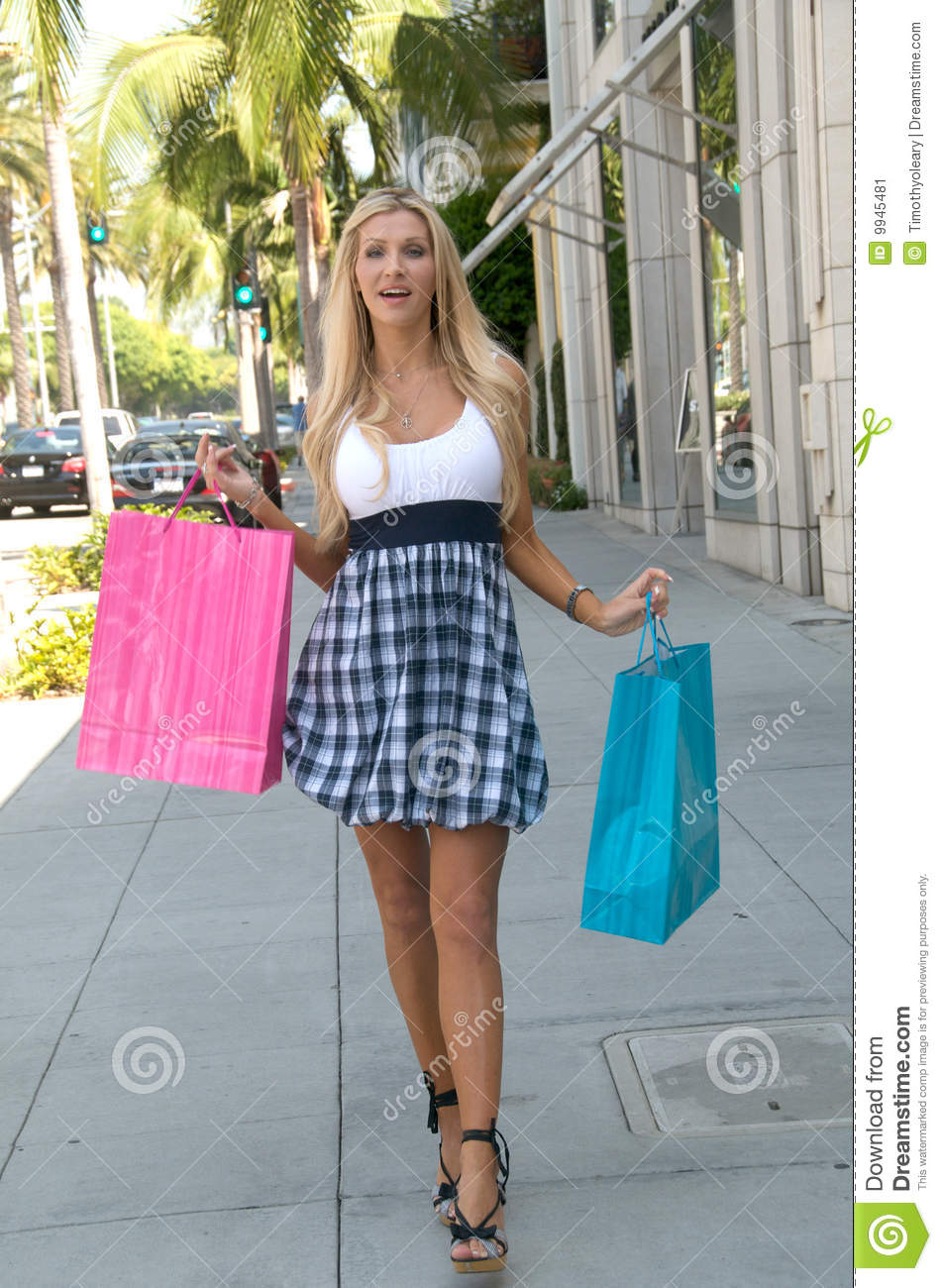 Rodeo Drive Shopping Day Stock Image Image Of Blond