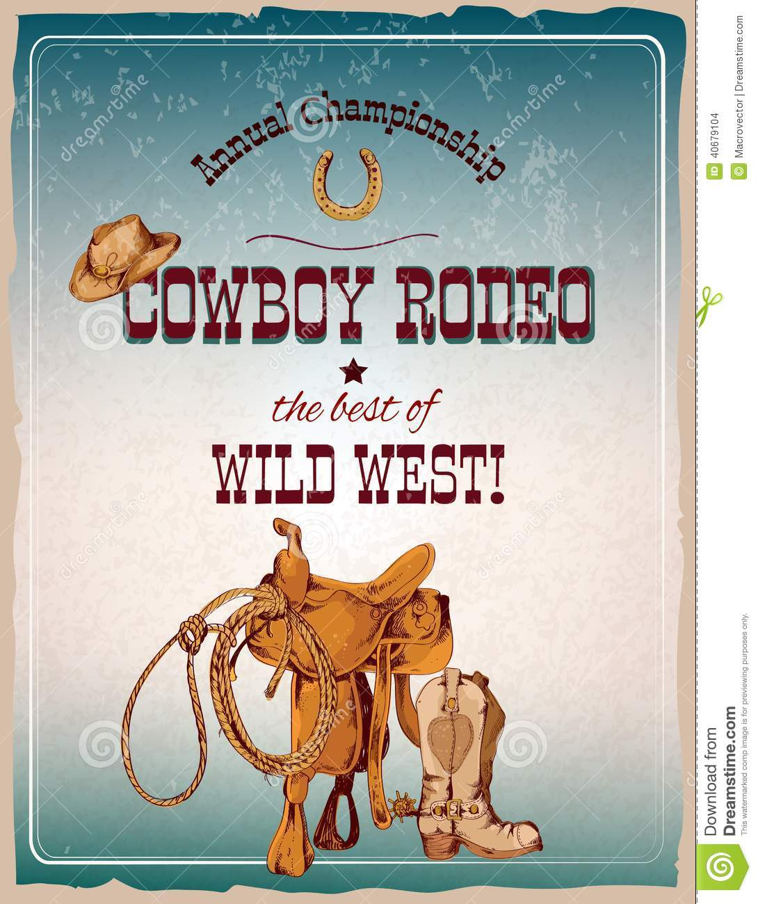 Rodeo Poster Colored Stock Vector Image 40679104
