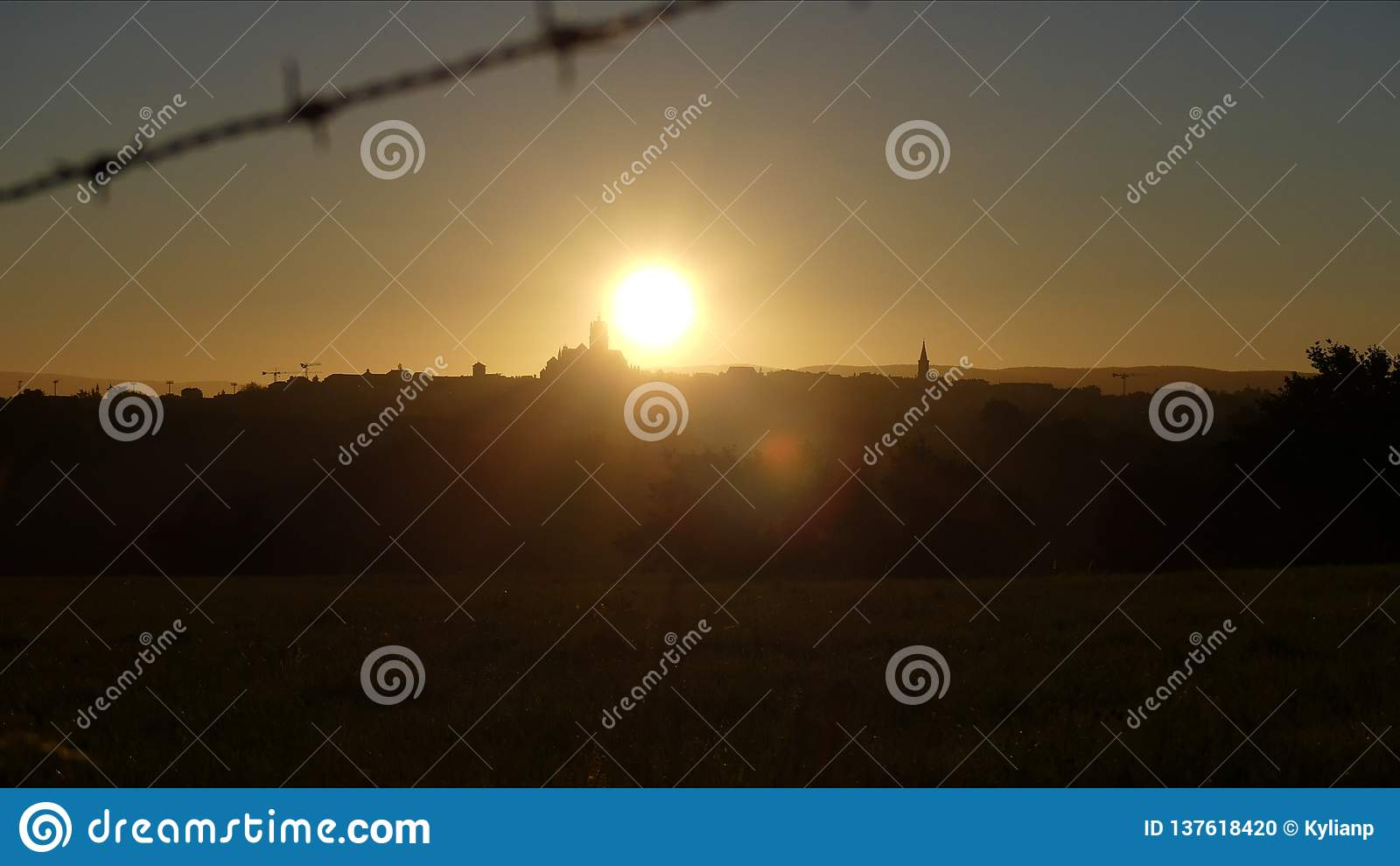 Rodez at the rising sun