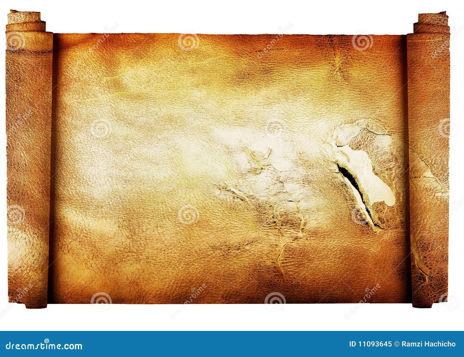 Rodillo de la vendimia del fondo del pergamino aislado en w
