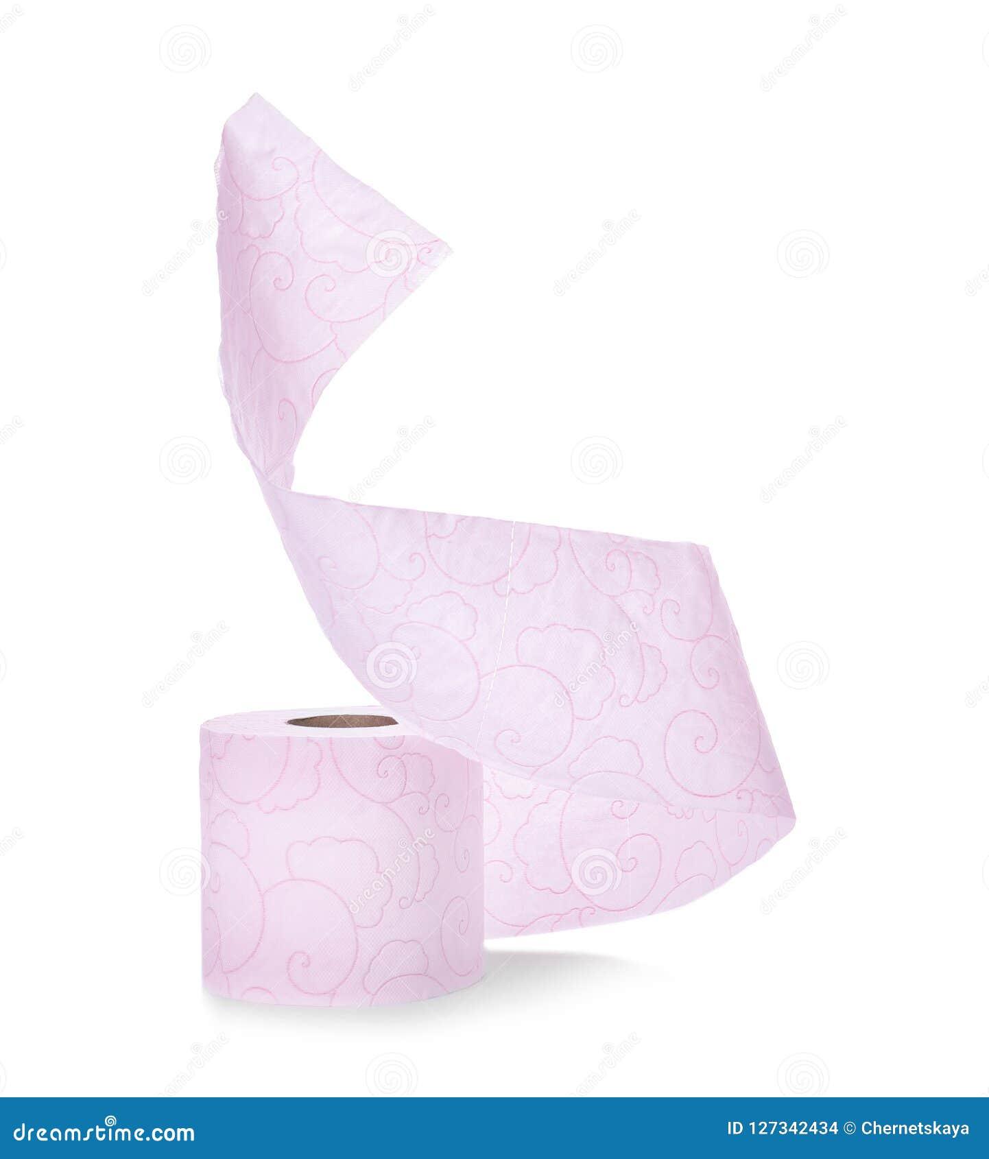 Rodillo del papel higiénico en el fondo blanco