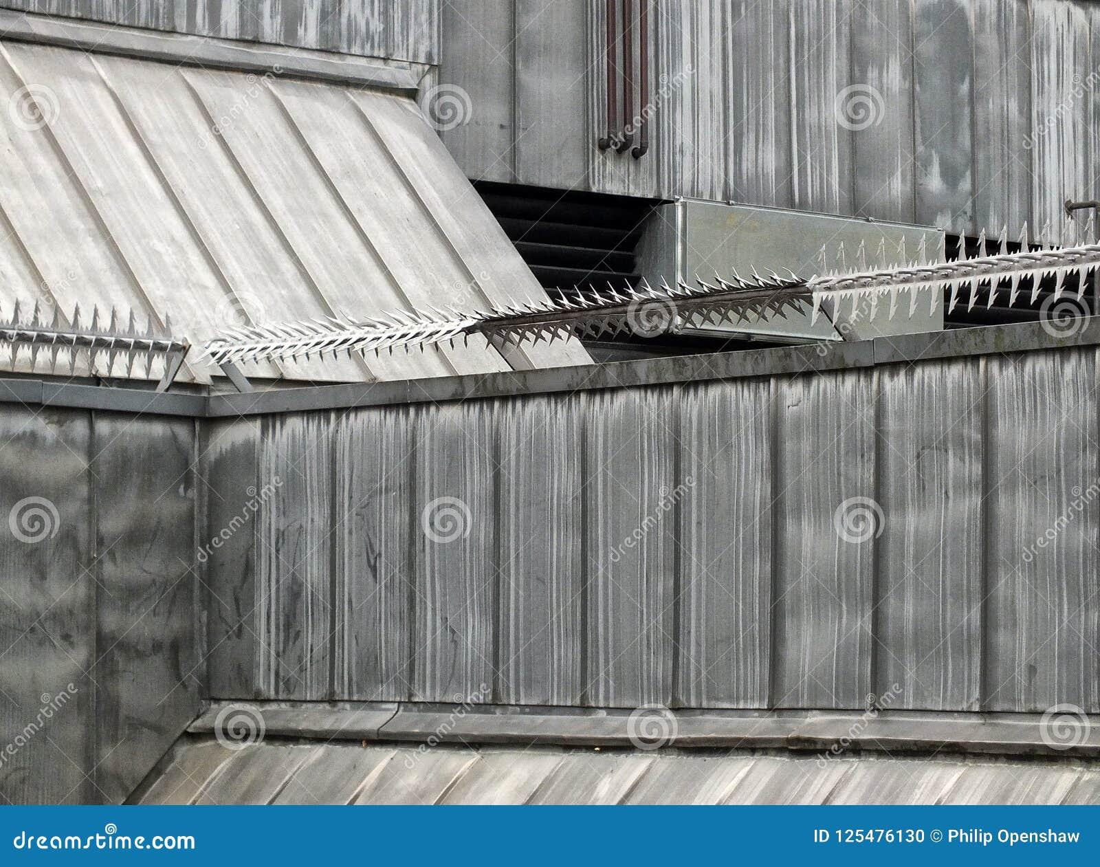 Rodillos antis de la seguridad de la subida con los puntos de púas en las paredes y el tejado de un edificio de la alta seguridad