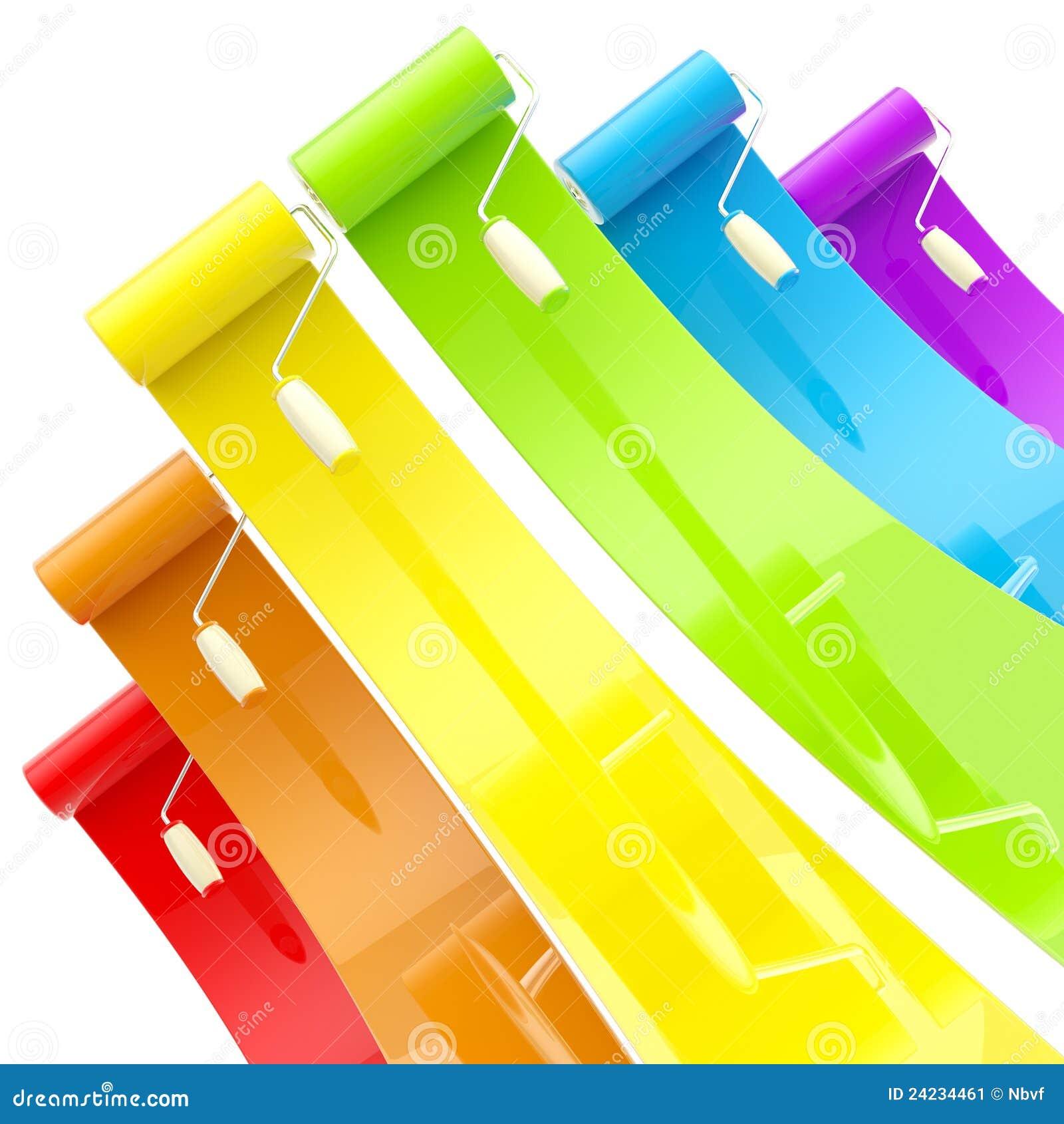 Rodillos de pintura brillantes coloridos con los - Rodillos de pintura ...