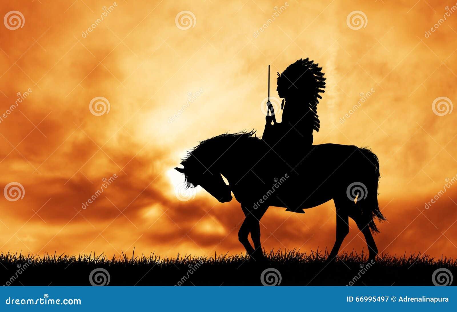 Rodowitego Amerykanina indianin na koniu