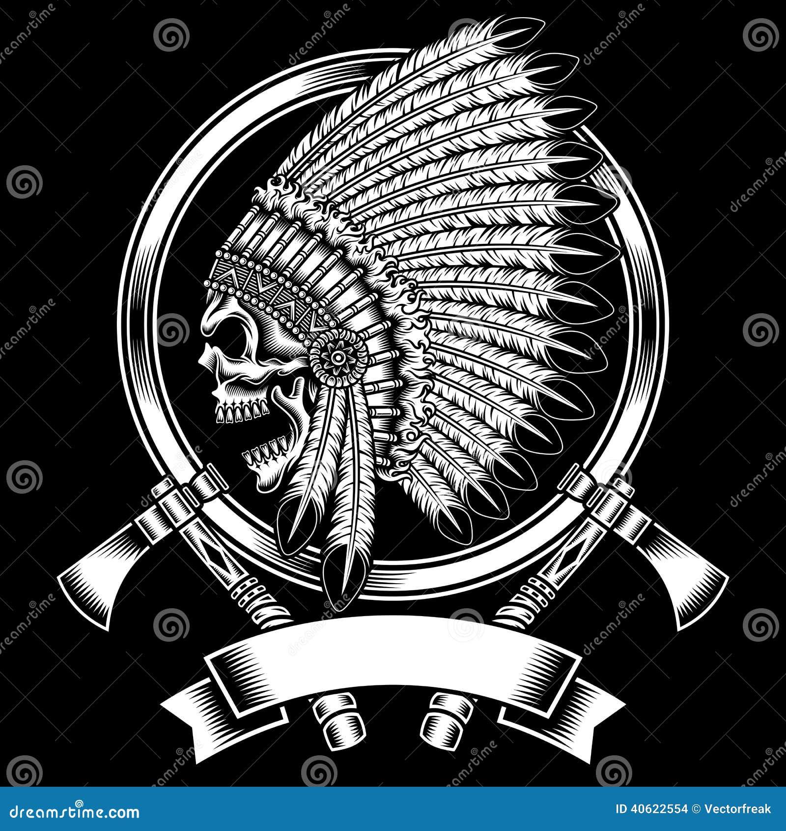 Rodowity Amerykanin czaszki Z tomahawkiem Indiański szef