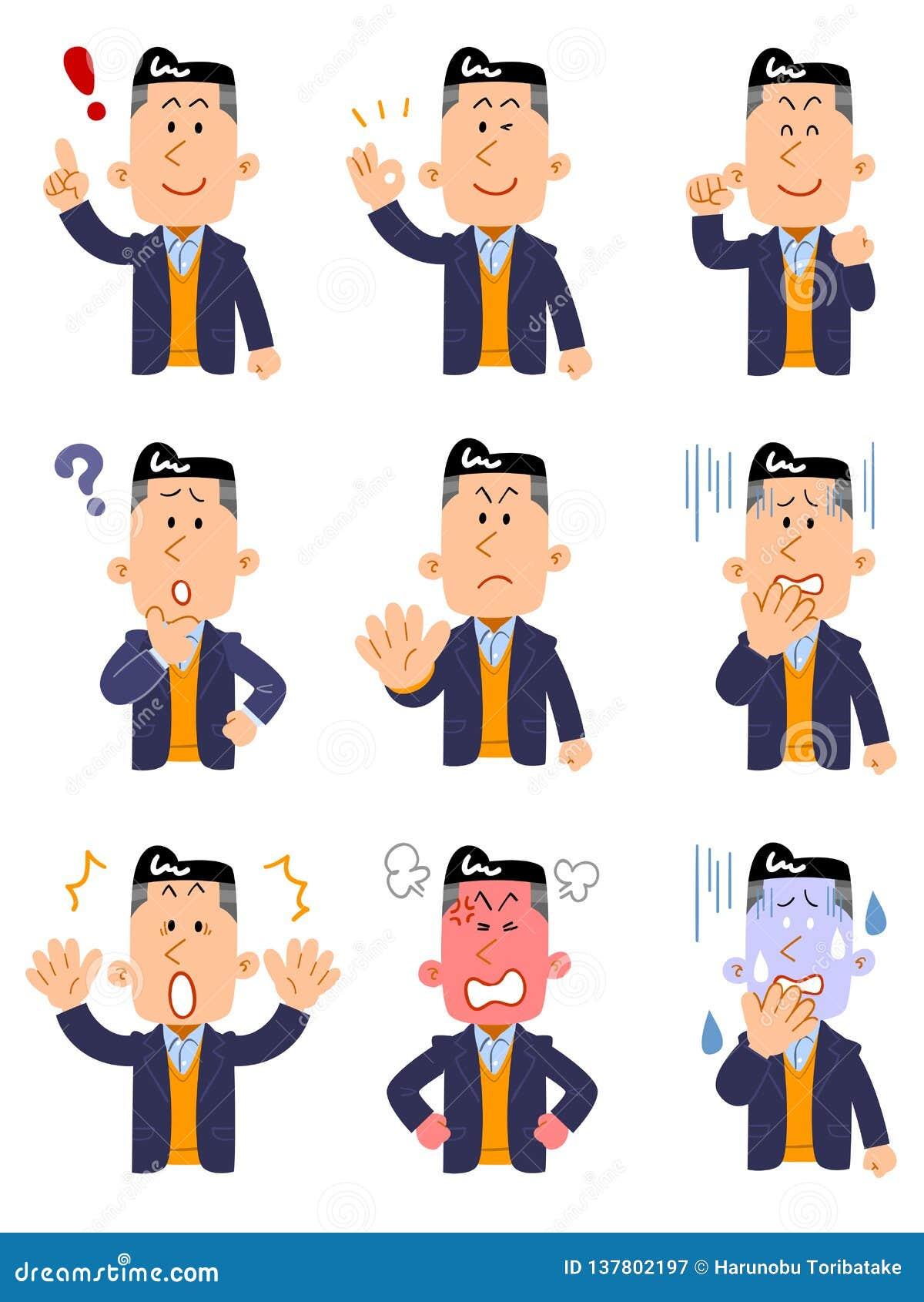 9 rodzajów pozy i gesty górny ciało mężczyzna jest ubranym kurtkę