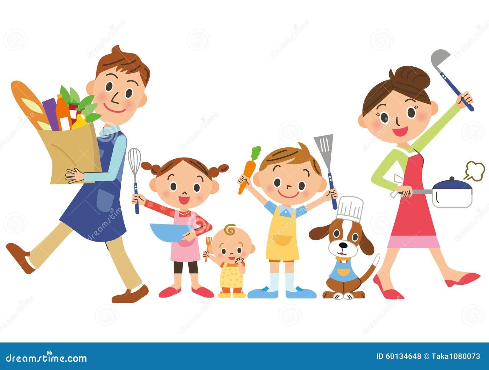 Rodzic i dziecko który cieszą się kucharstwo