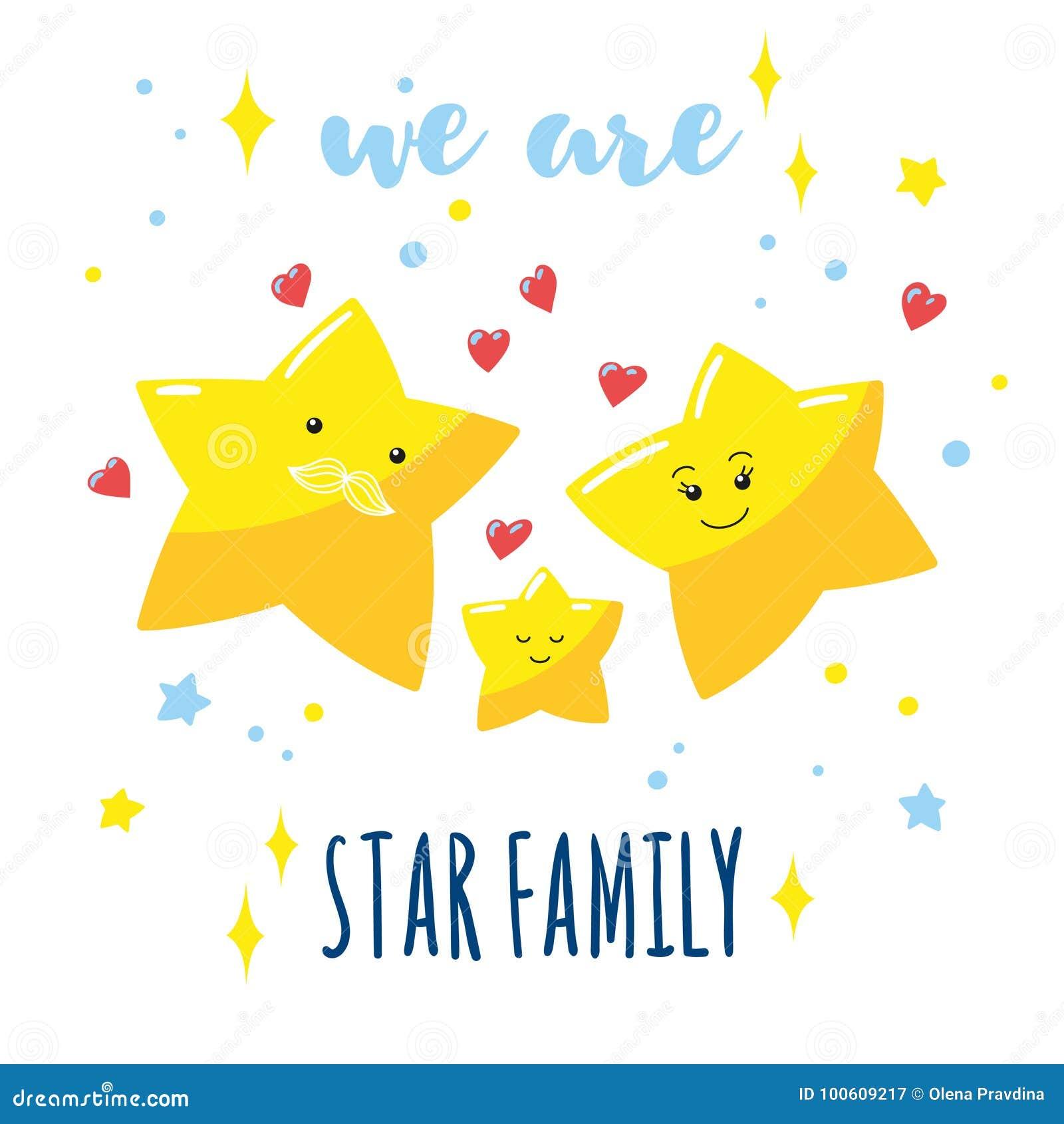 Rodzina śliczne gwiazdy w niebie i pisać inskrypci Kreskówka tata, mama i ich dziecko,