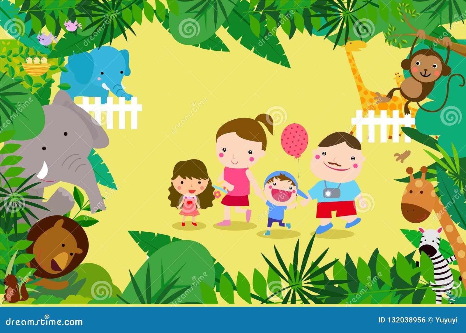 Rodzina bawić się w zoo