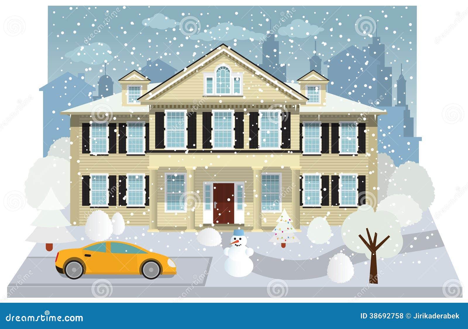 Rodzina dom w zimie