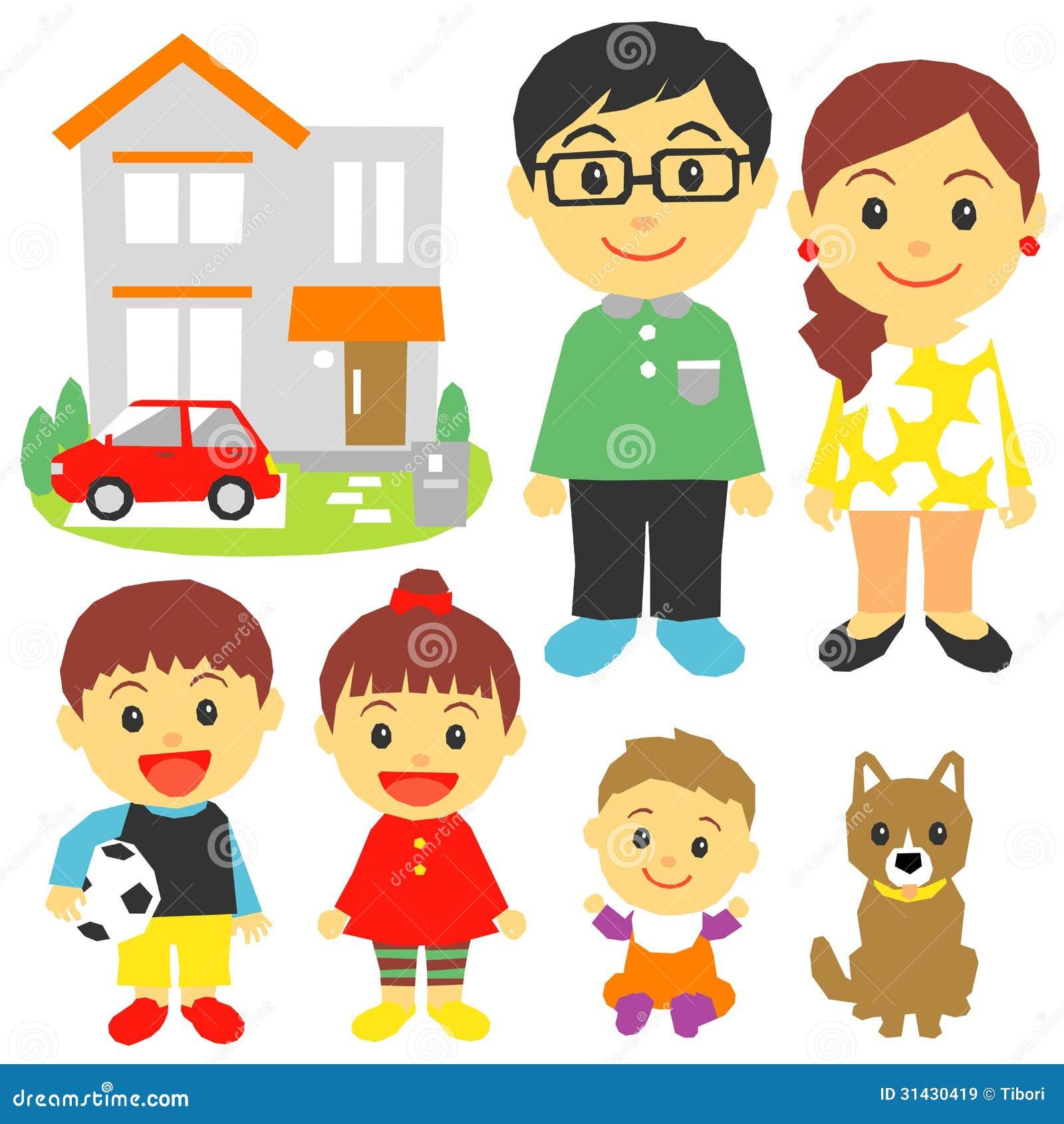 Rodzina Dzieci Dom Samochód Ilustracja Wektor Ilustracja Złożonej Z Rodzina Samochód 31430419