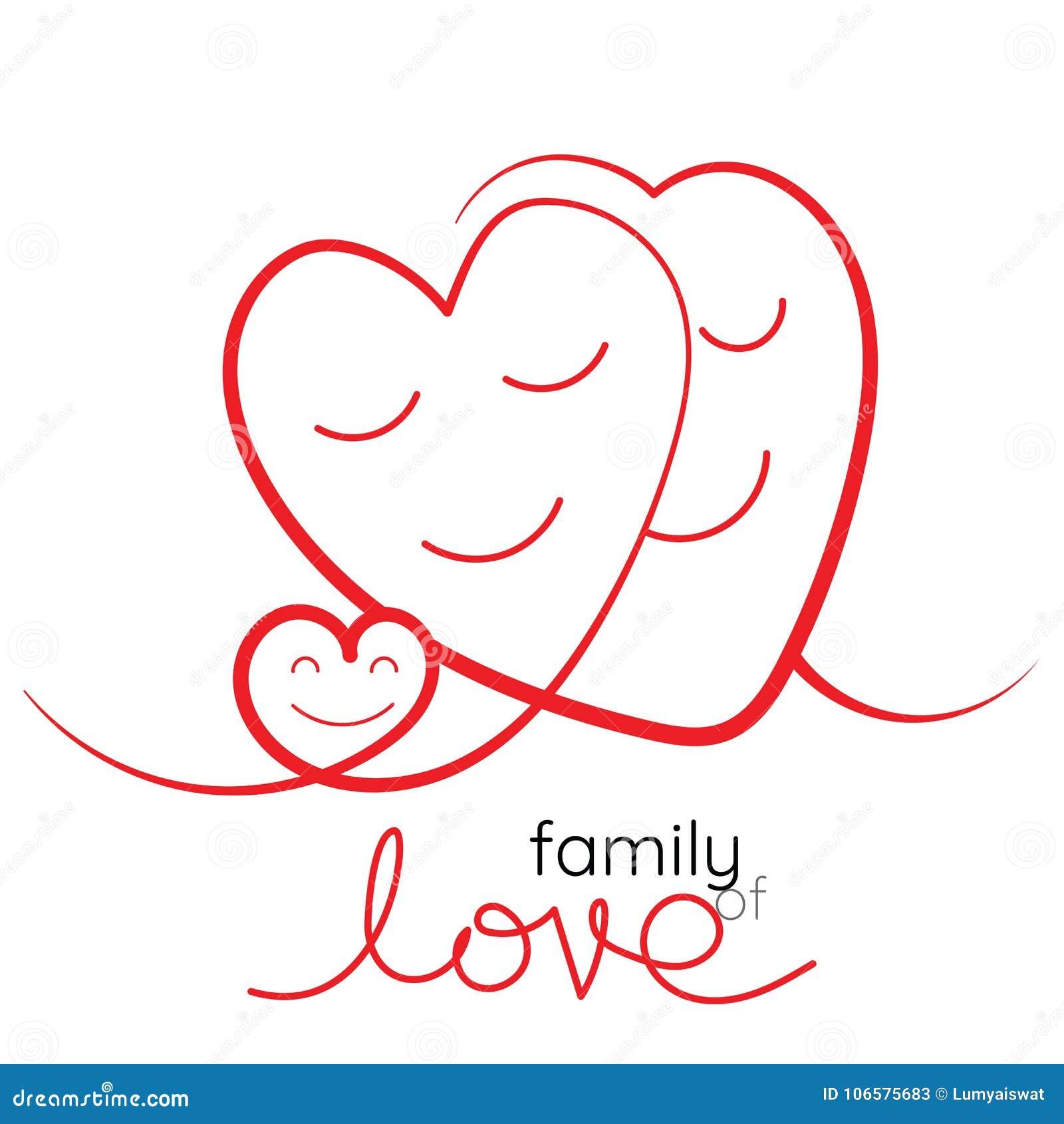 Rodzina miłość wektoru ilustracja Matka, ojciec i dziecko,