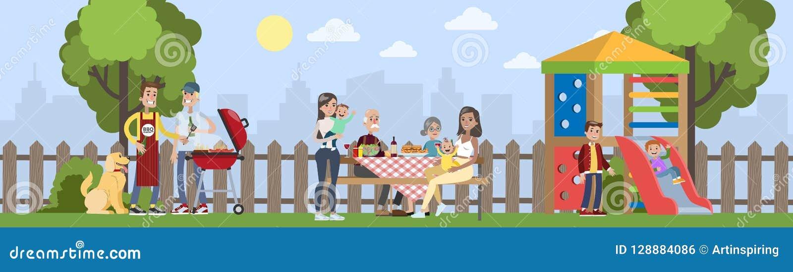 Rodzina na BBQ przyjęciu na podwórku