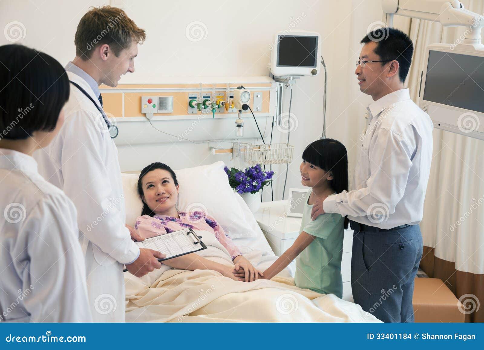 Rodzina odwiedza matki w szpitalu, dyskutuje z lekarką