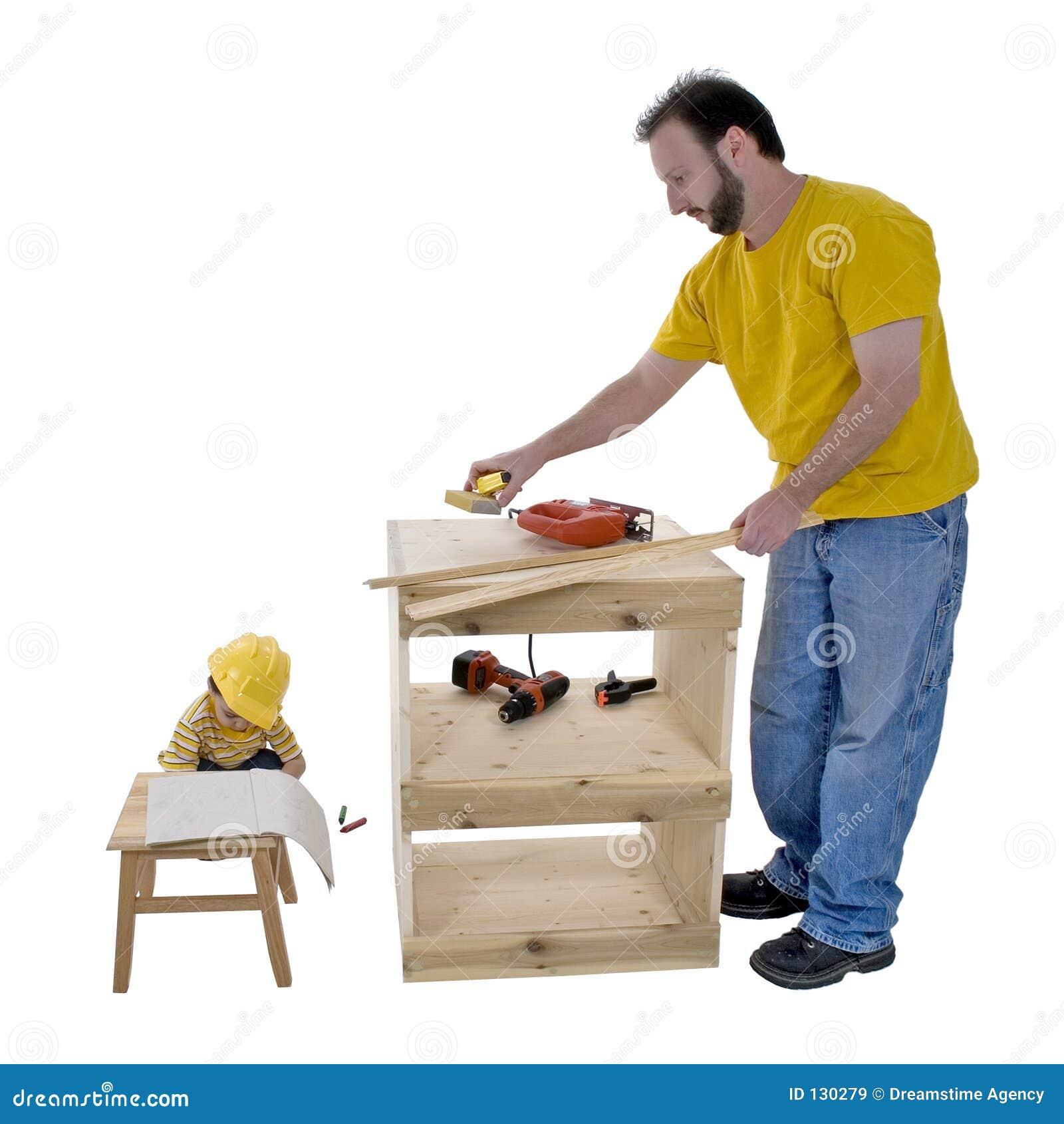 Rodzina ojca stylu życia razem syn pracuje