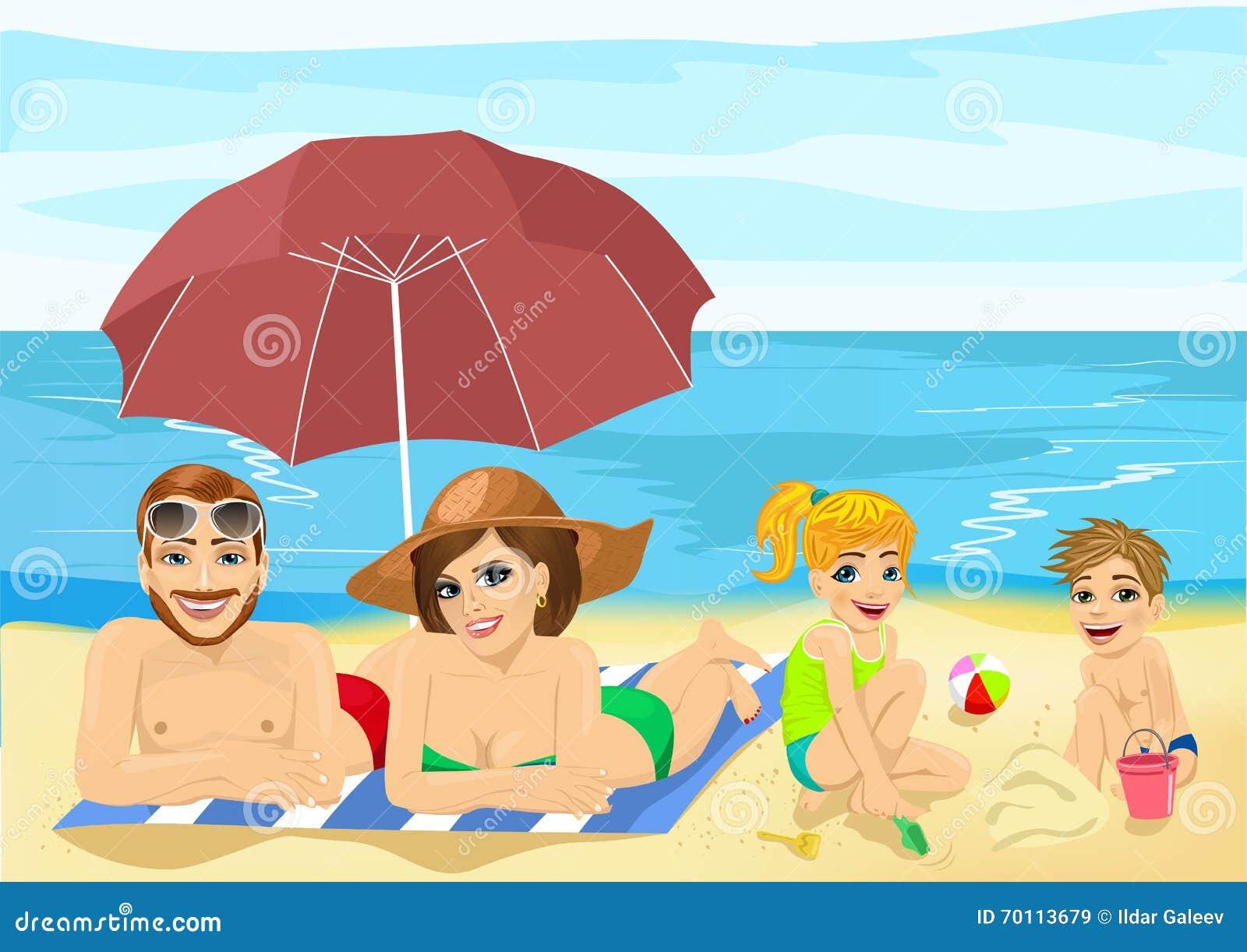 Rodzina Przy Tropikalnej Plaży Sunbathing Relaksować I Bawić Się ...