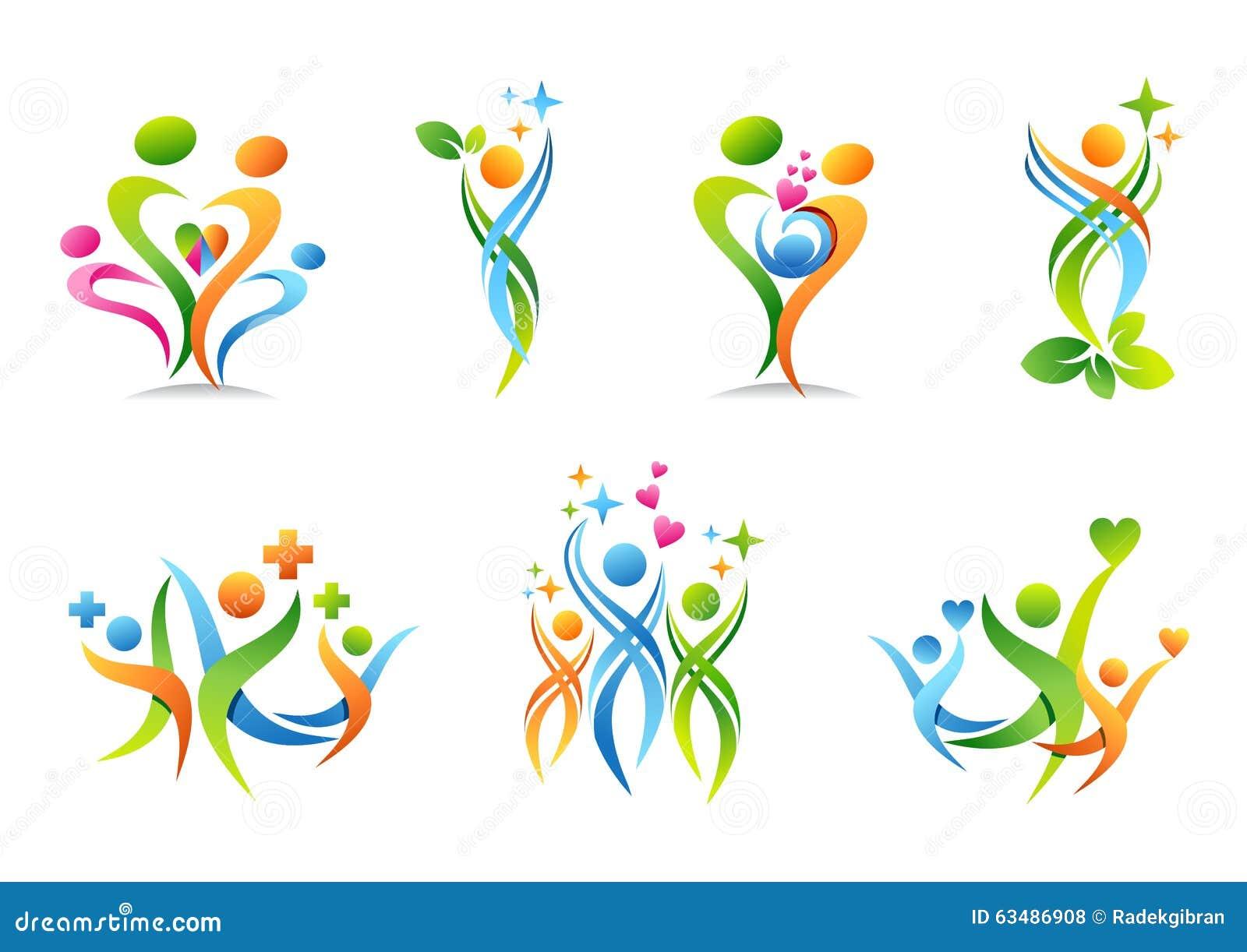 Rodzina, rodzic, zdrowie, edukacja, logo, wychowywa, ludzie, opieka zdrowotna ustawiająca symbol ikony wektorowy projekt
