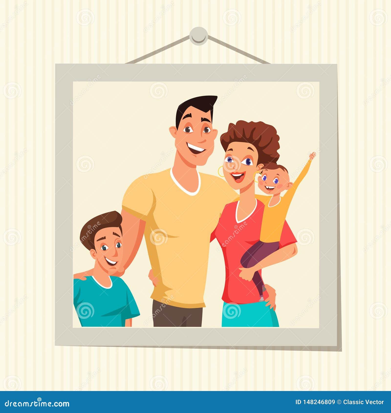 Rodzinna fotografia w ramowej płaskiej wektorowej ilustracji