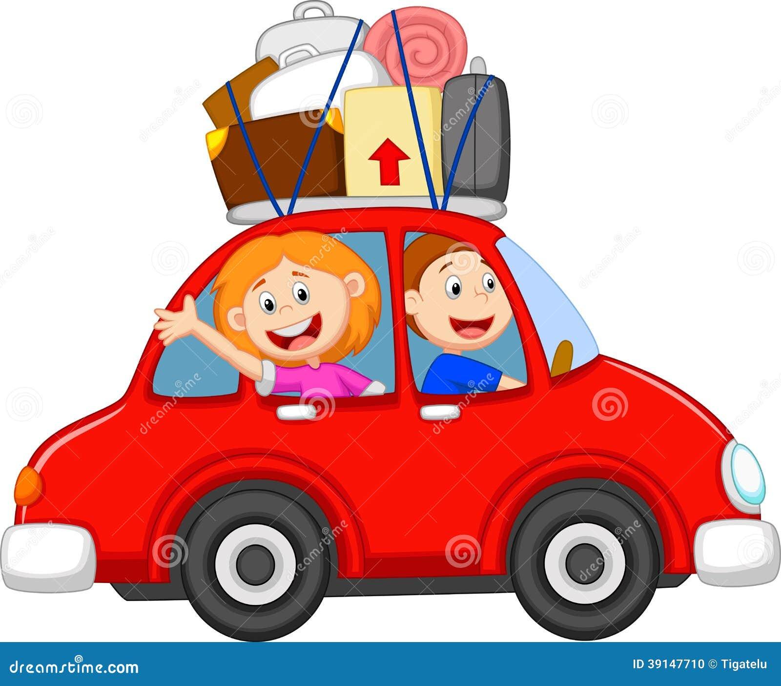 Rodzinna kreskówka podróżuje z samochodem
