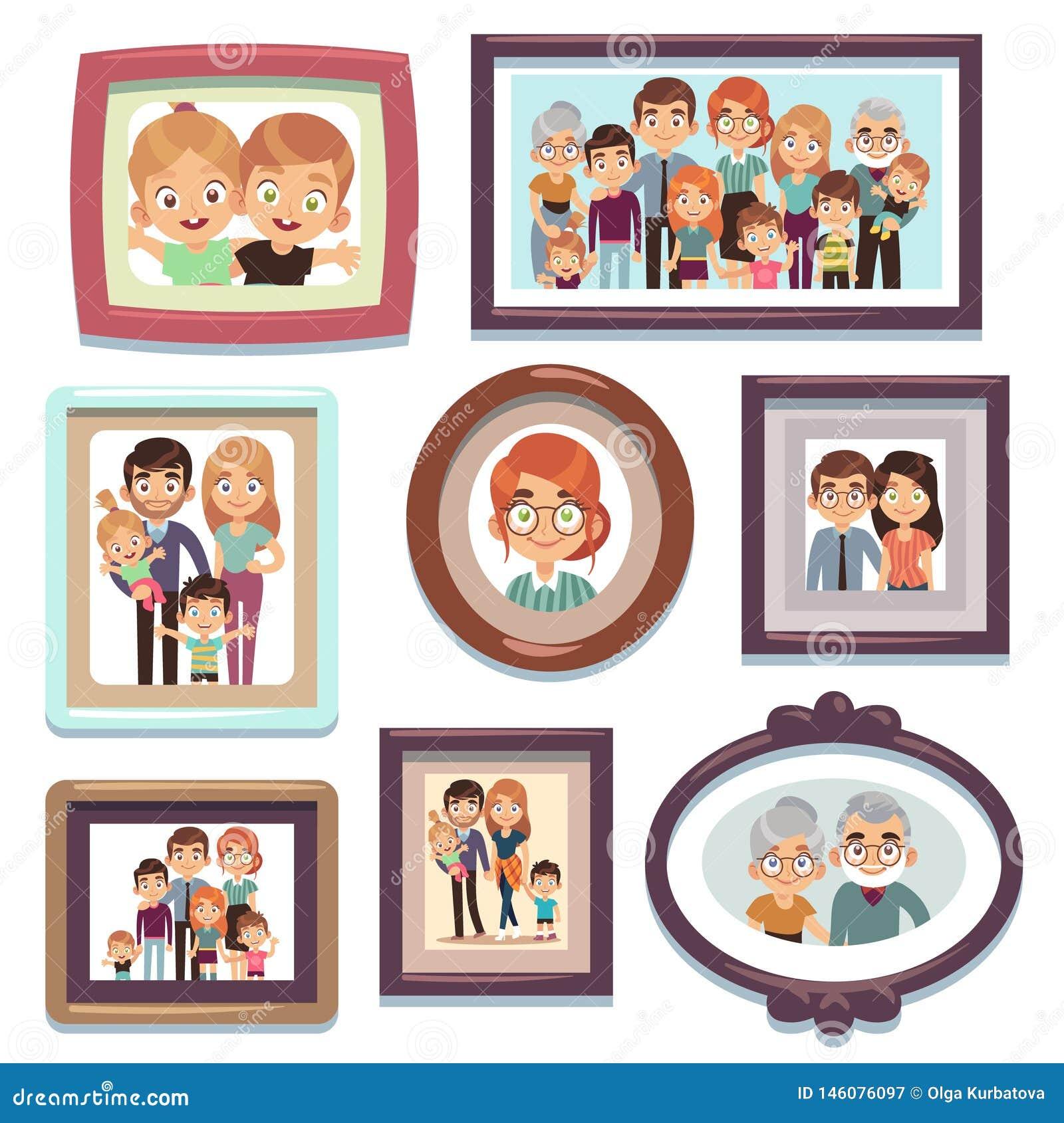 Rodzinne portret fotografie Obrazek fotografii ramy charakterów krewnych szczęśliwej dynastii ludzie wychowywają dzieciaka związe