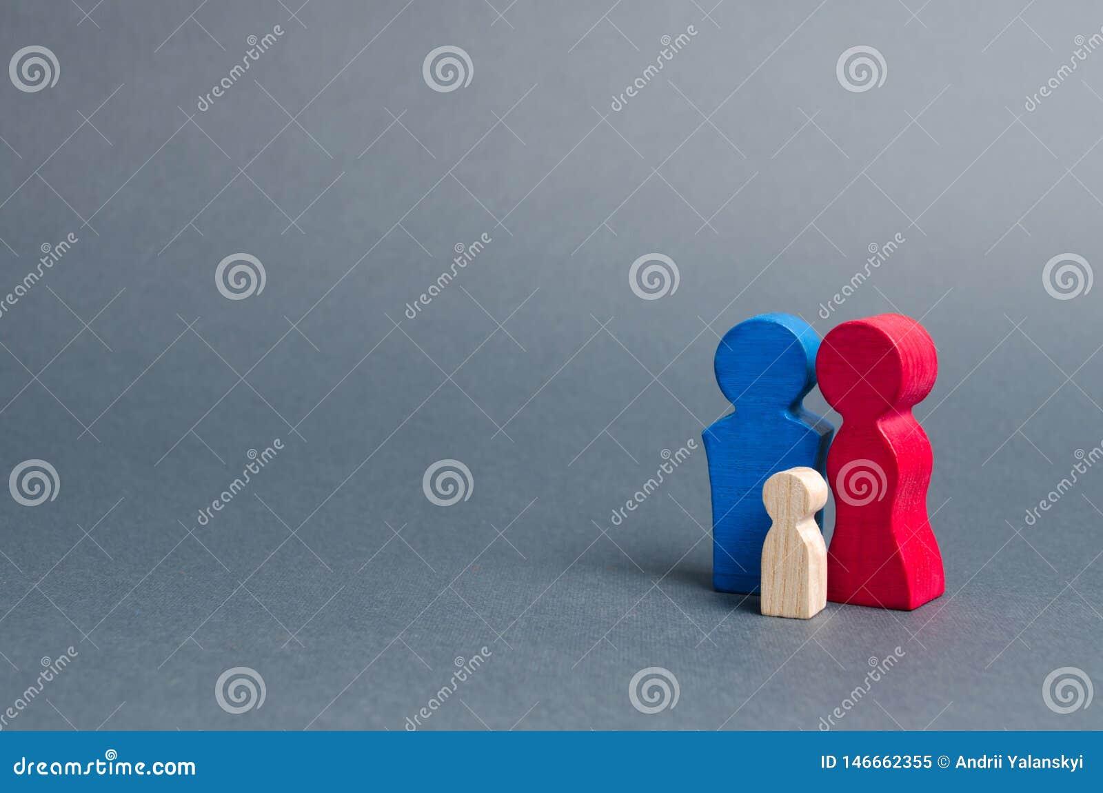 Rodzinne postacie stoją na szarym tle Rodzice i dziecko Warto?ci rodzinne Komórki społeczeństwo, prokreacja Programy wspierać